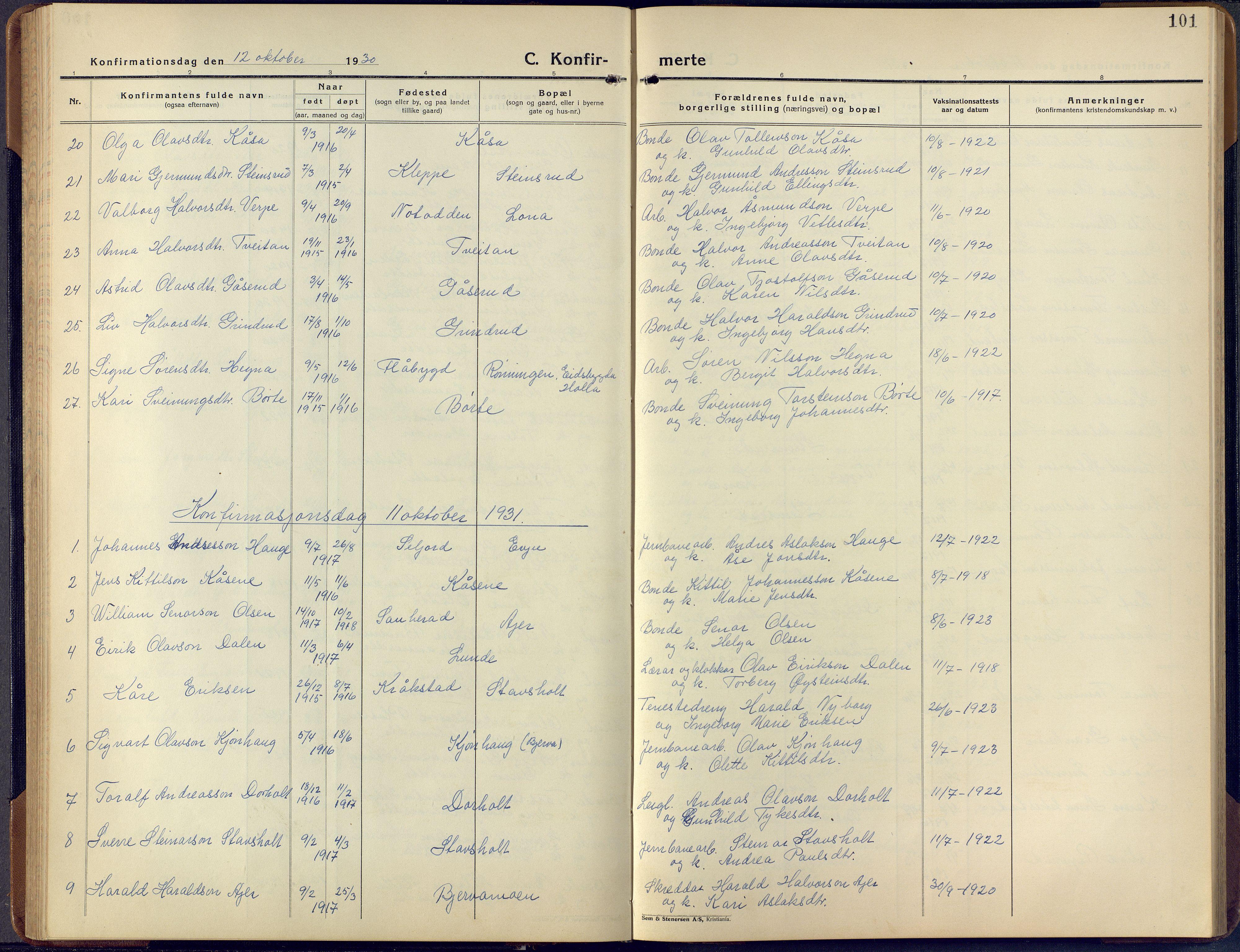 SAKO, Lunde kirkebøker, F/Fa/L0006: Ministerialbok nr. I 6, 1922-1940, s. 101