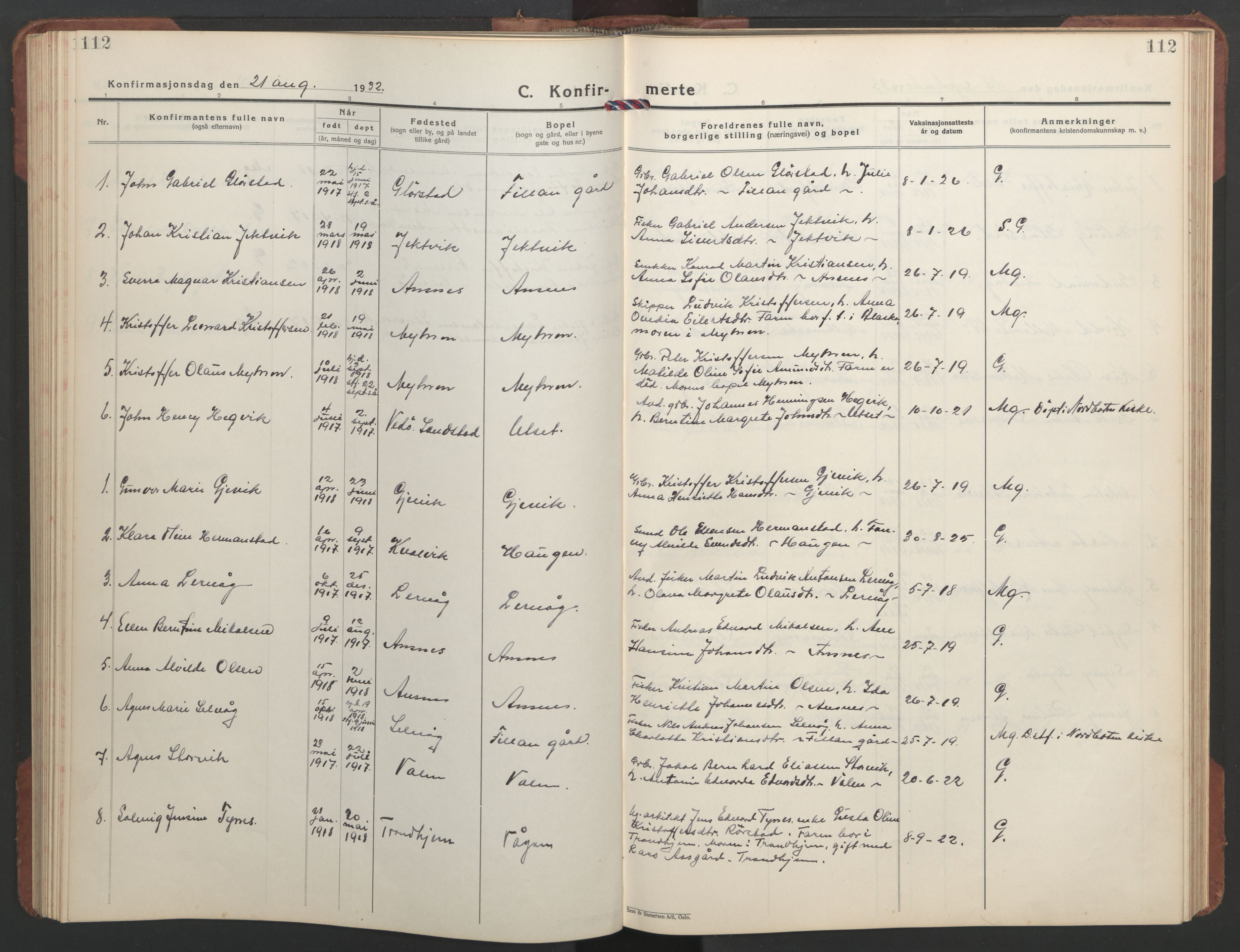 SAT, Ministerialprotokoller, klokkerbøker og fødselsregistre - Sør-Trøndelag, 637/L0564: Klokkerbok nr. 637C05, 1928-1968, s. 112