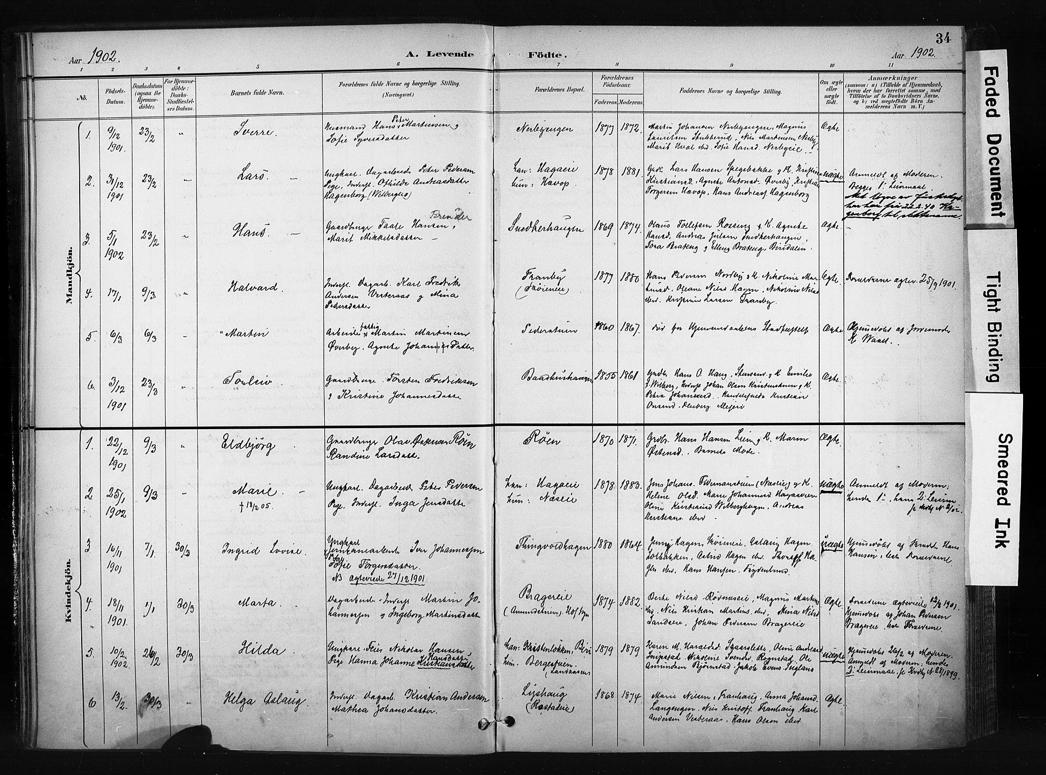 SAH, Søndre Land prestekontor, K/L0004: Ministerialbok nr. 4, 1895-1904, s. 34
