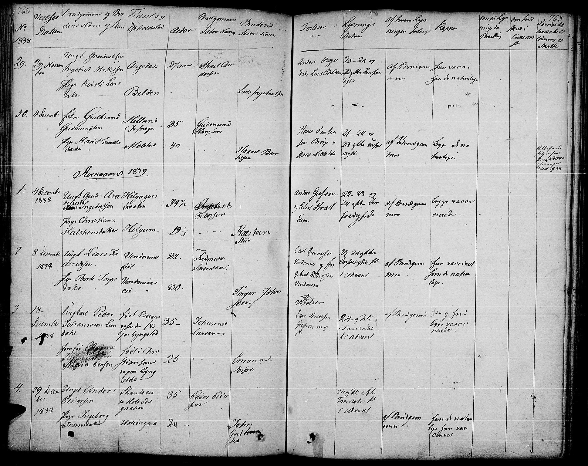 SAH, Gran prestekontor, Ministerialbok nr. 10, 1824-1842, s. 762-763