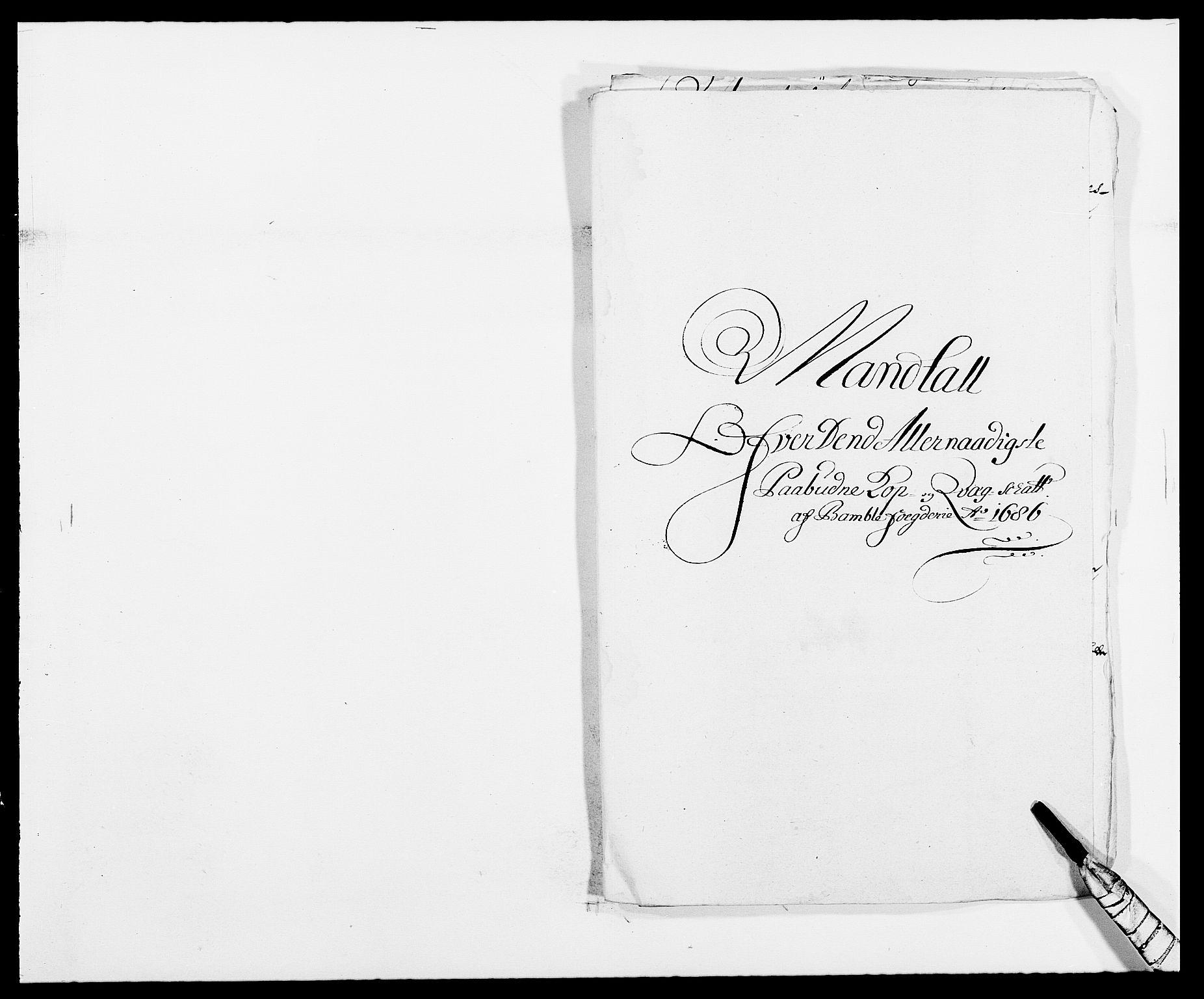 RA, Rentekammeret inntil 1814, Reviderte regnskaper, Fogderegnskap, R34/L2049: Fogderegnskap Bamble, 1685-1687, s. 151