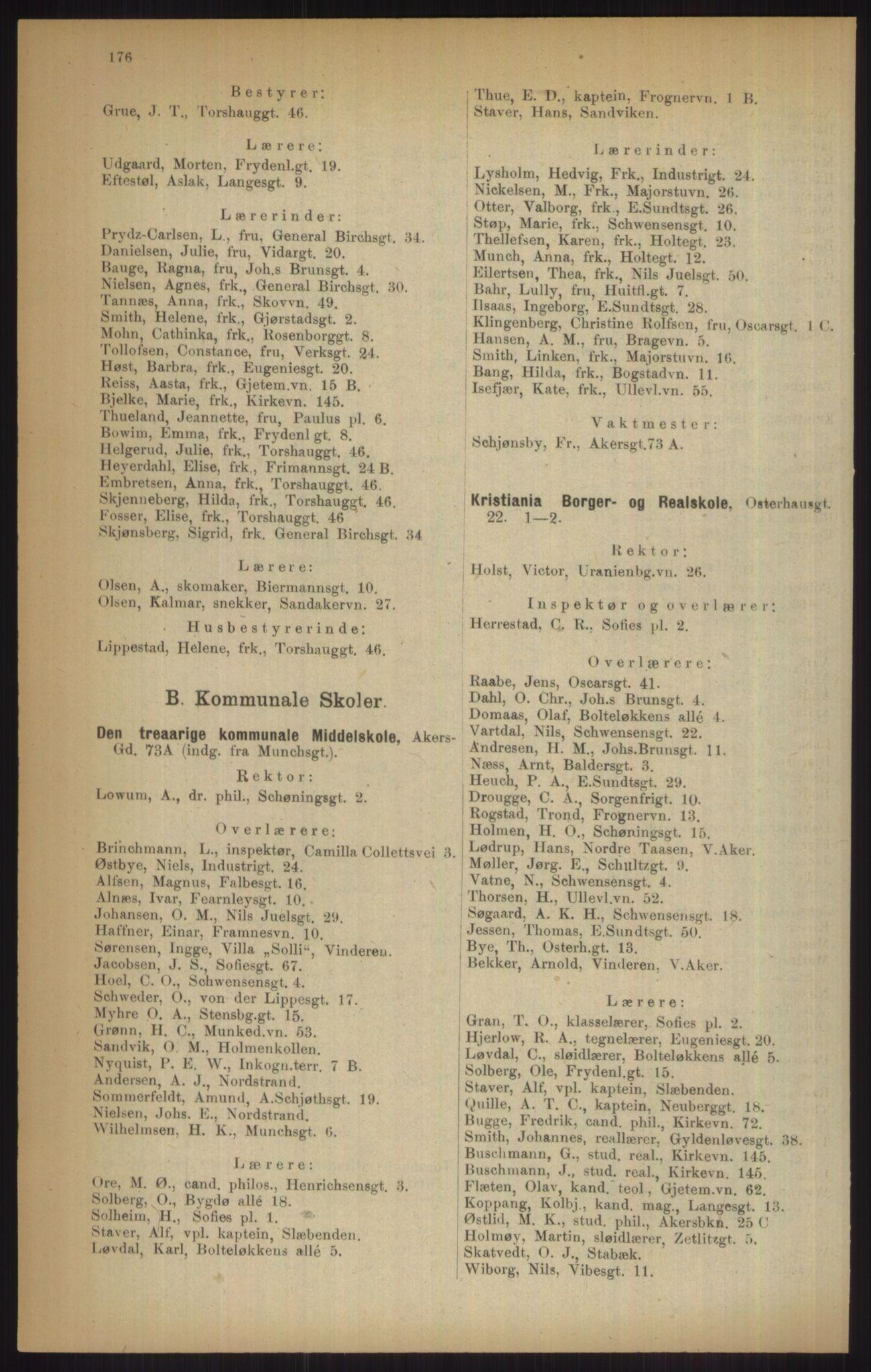 RA, Kristiania adressebok (publikasjon)*, 1915, s. 176