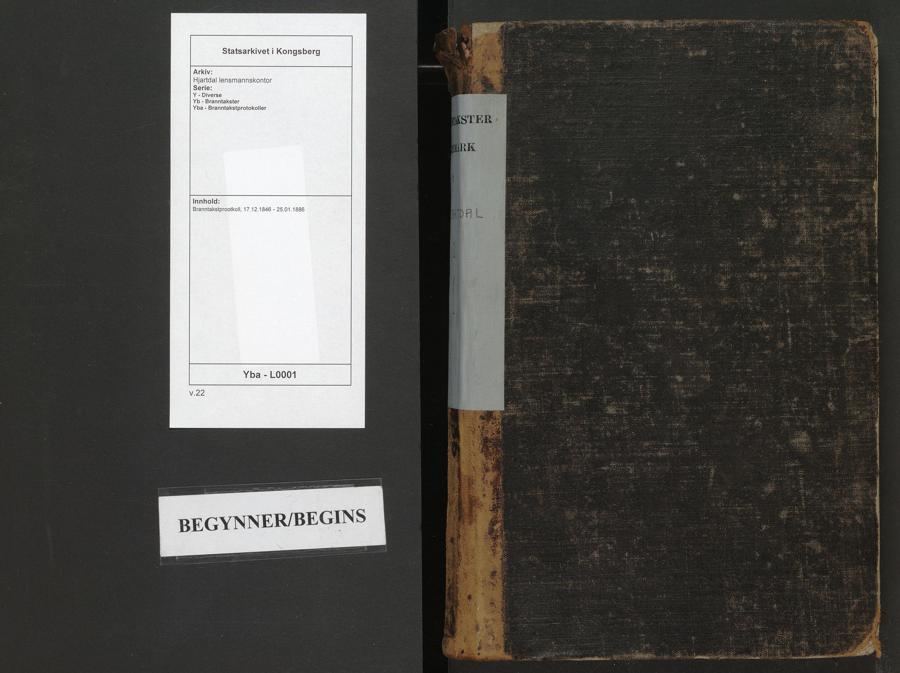 SAKO, Hjartdal lensmannskontor, Y/Yb/Yba/L0001: Branntakstprootkoll, 1846-1886