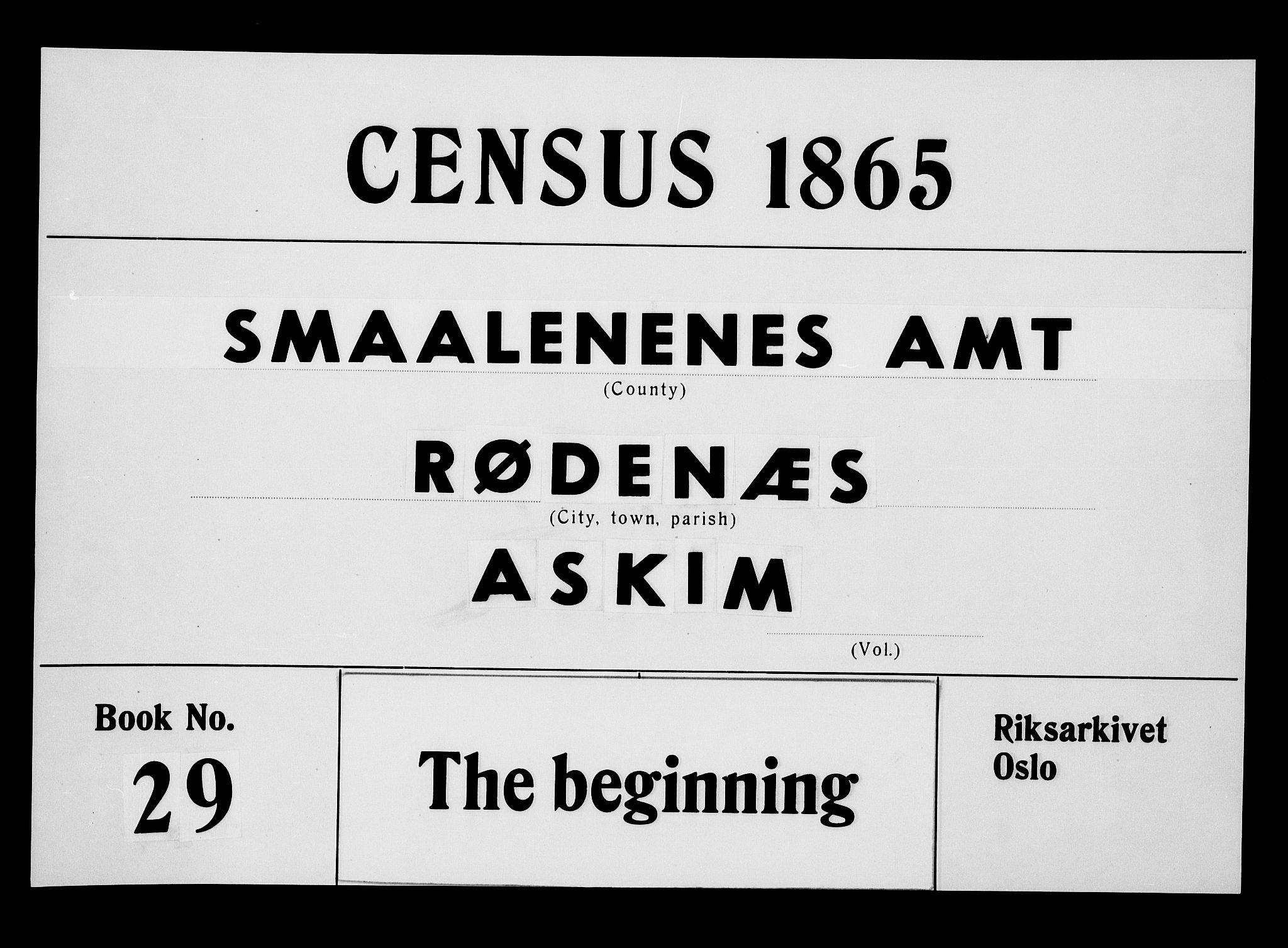 RA, Folketelling 1865 for 0120P Rødenes prestegjeld, 1865, s. 1