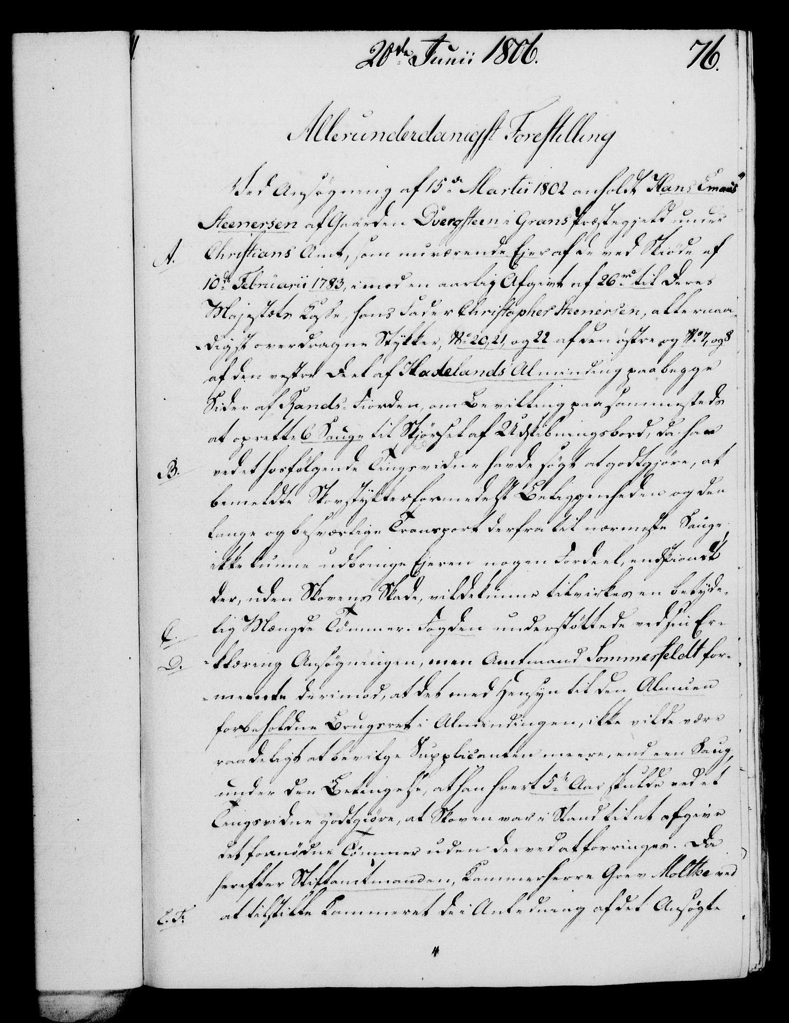 RA, Rentekammeret, Kammerkanselliet, G/Gf/Gfa/L0088: Norsk relasjons- og resolusjonsprotokoll (merket RK 52.88), 1806, s. 460