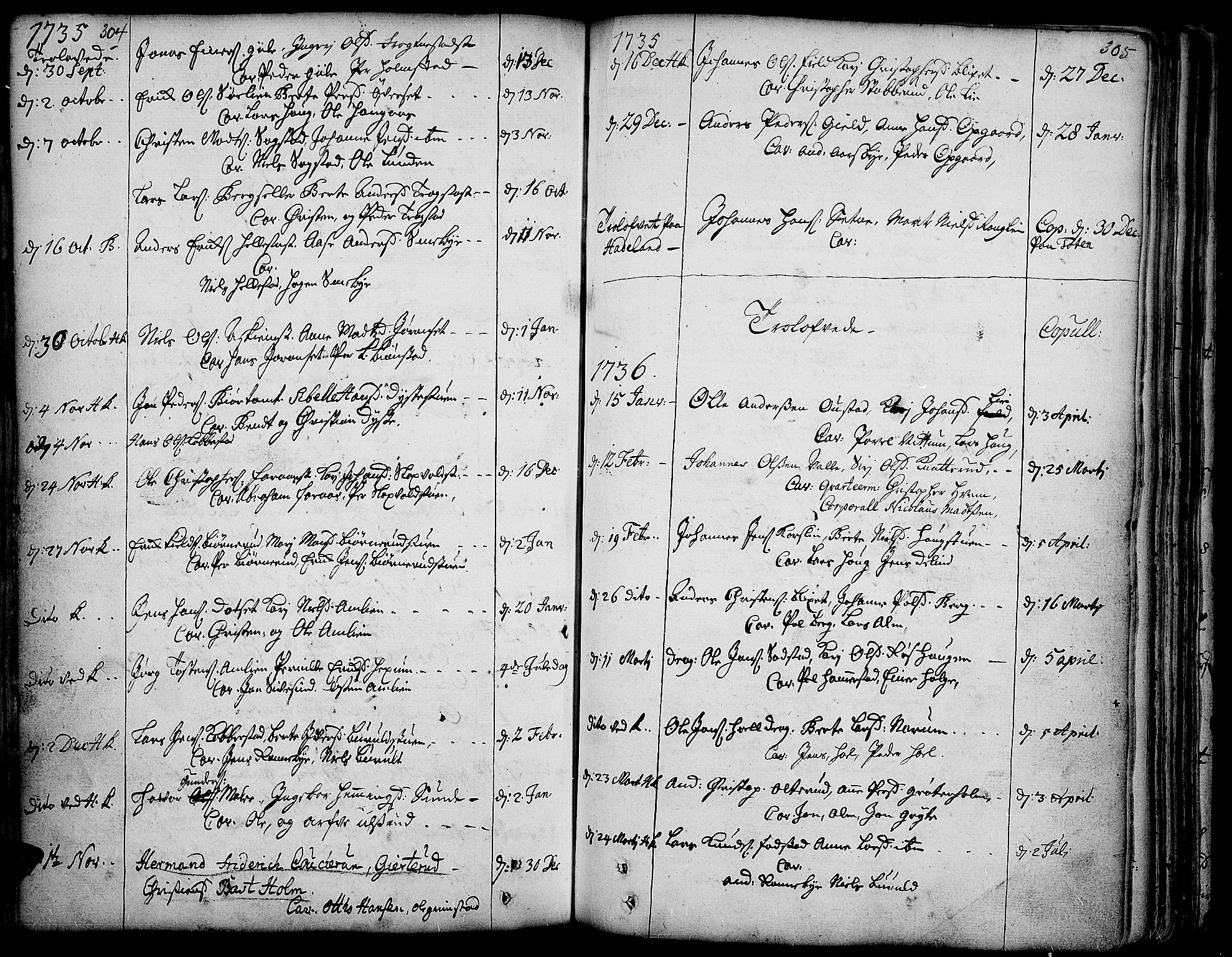 SAH, Toten prestekontor, Ministerialbok nr. 3, 1734-1751, s. 304-305