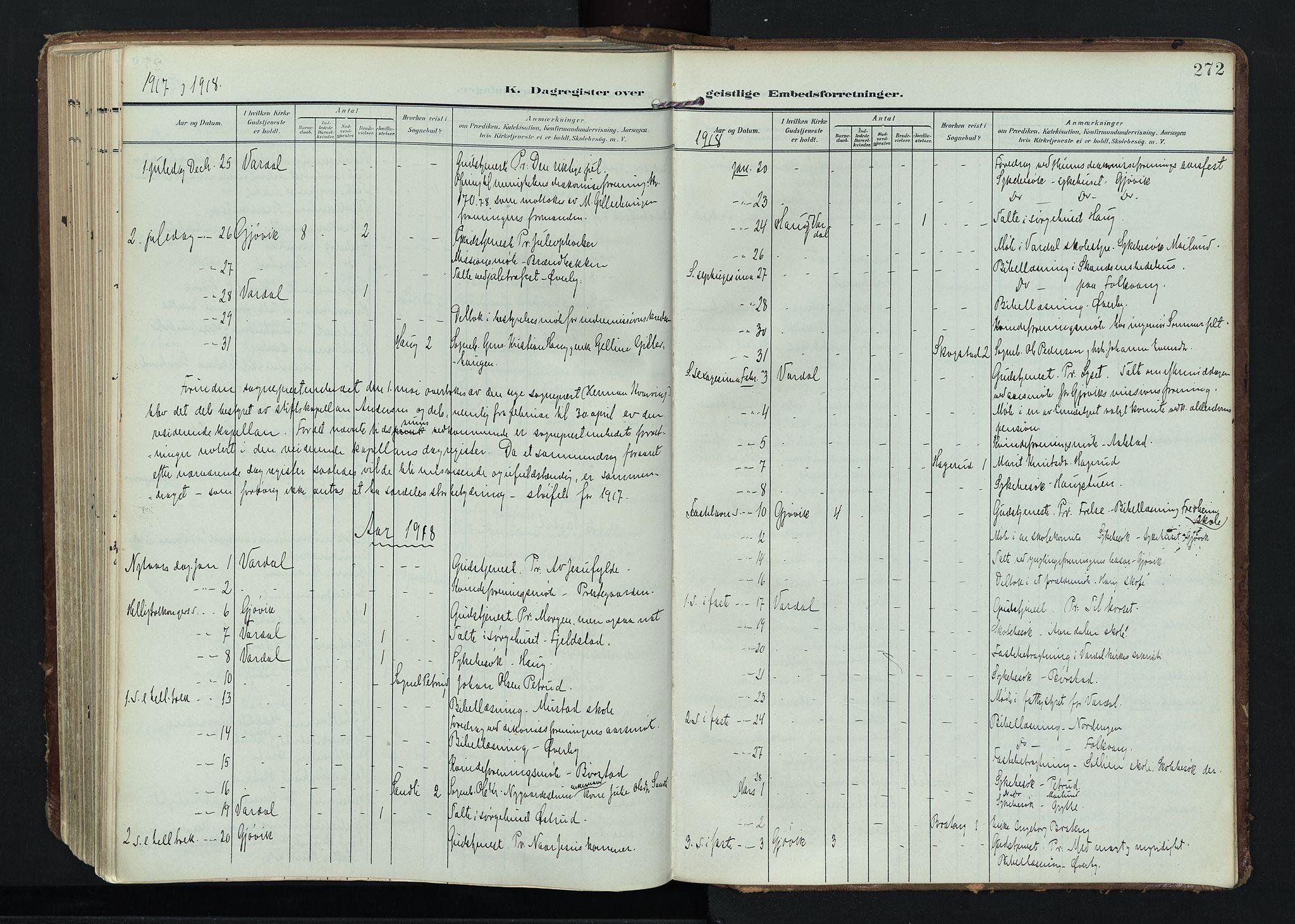 SAH, Vardal prestekontor, H/Ha/Haa/L0020: Ministerialbok nr. 20, 1907-1921, s. 272