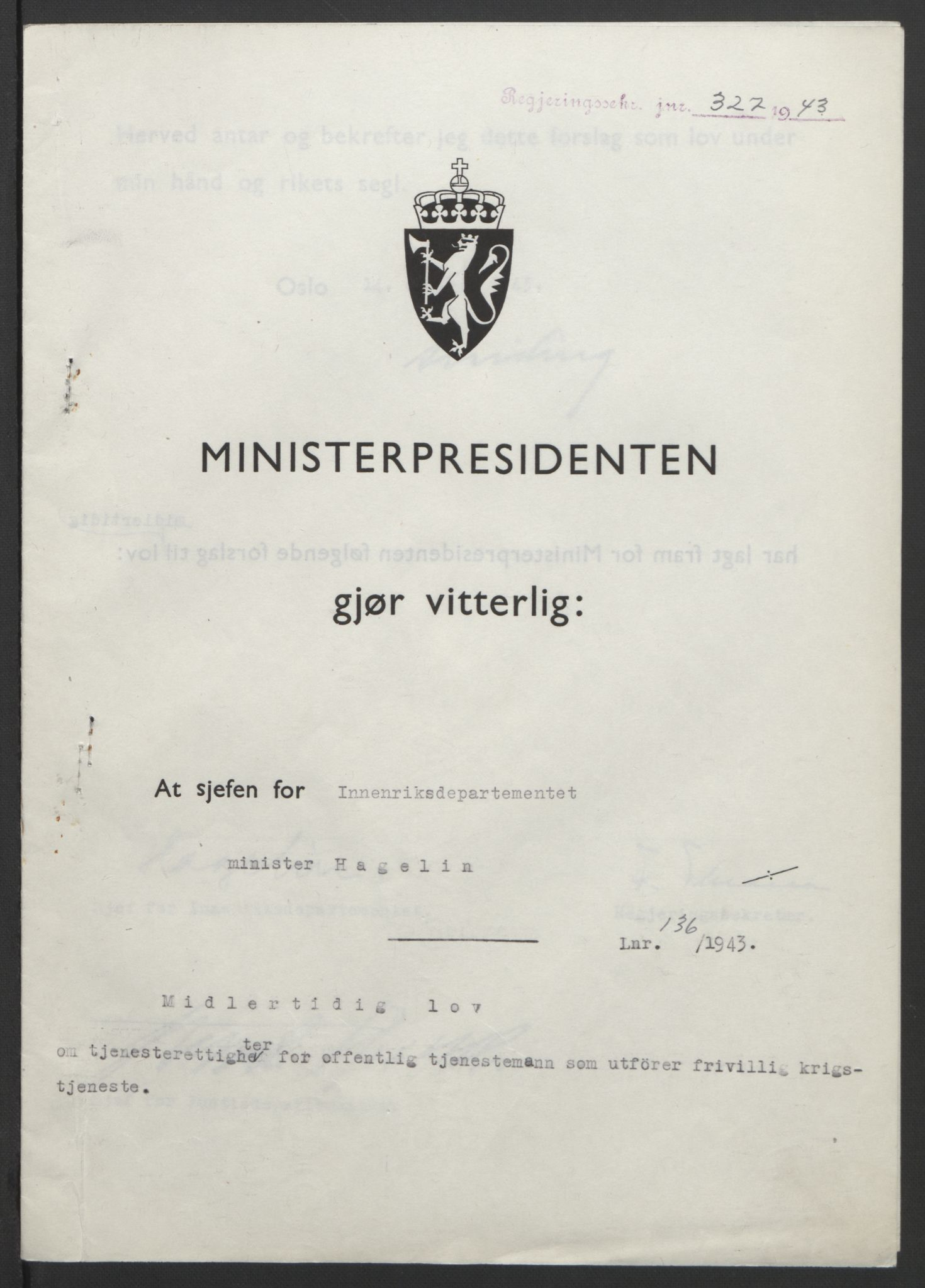 RA, NS-administrasjonen 1940-1945 (Statsrådsekretariatet, de kommisariske statsråder mm), D/Db/L0099: Lover, 1943, s. 632