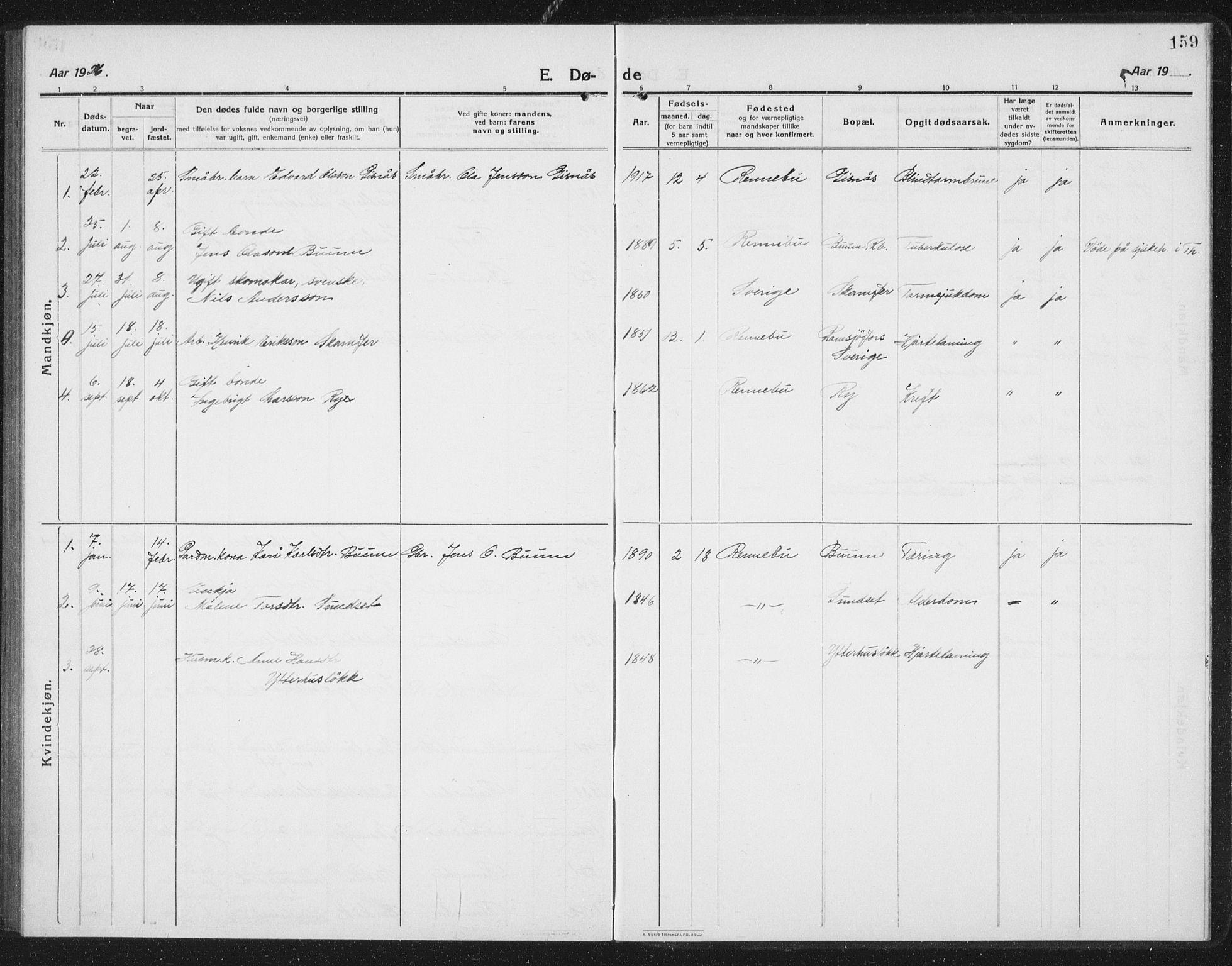 SAT, Ministerialprotokoller, klokkerbøker og fødselsregistre - Sør-Trøndelag, 675/L0888: Klokkerbok nr. 675C01, 1913-1935, s. 159