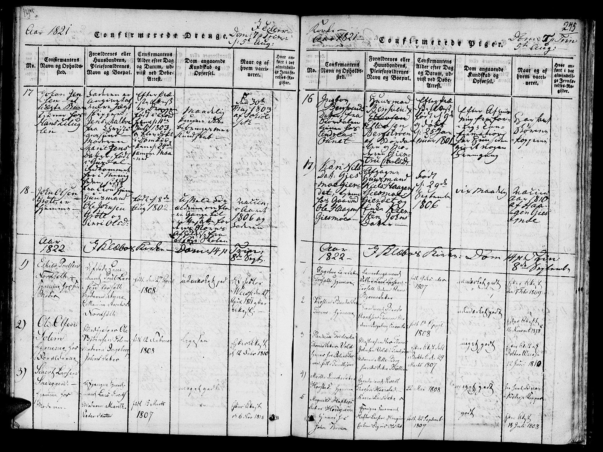 SAT, Ministerialprotokoller, klokkerbøker og fødselsregistre - Sør-Trøndelag, 618/L0439: Ministerialbok nr. 618A04 /1, 1816-1843, s. 245