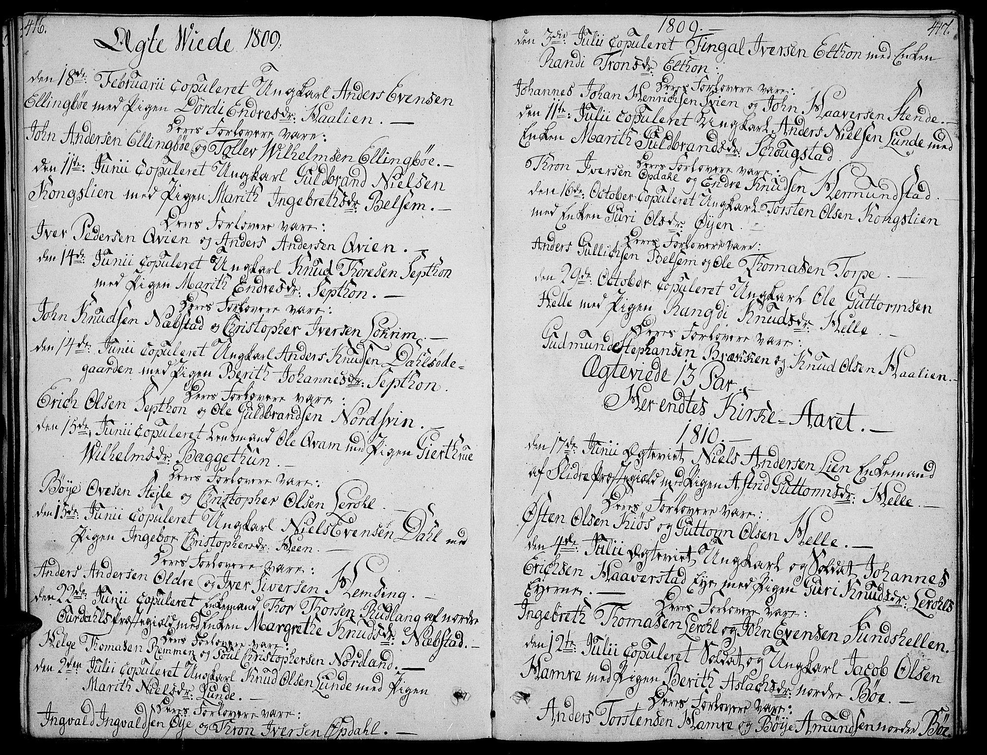 SAH, Vang prestekontor, Valdres, Ministerialbok nr. 3, 1809-1831, s. 416-417