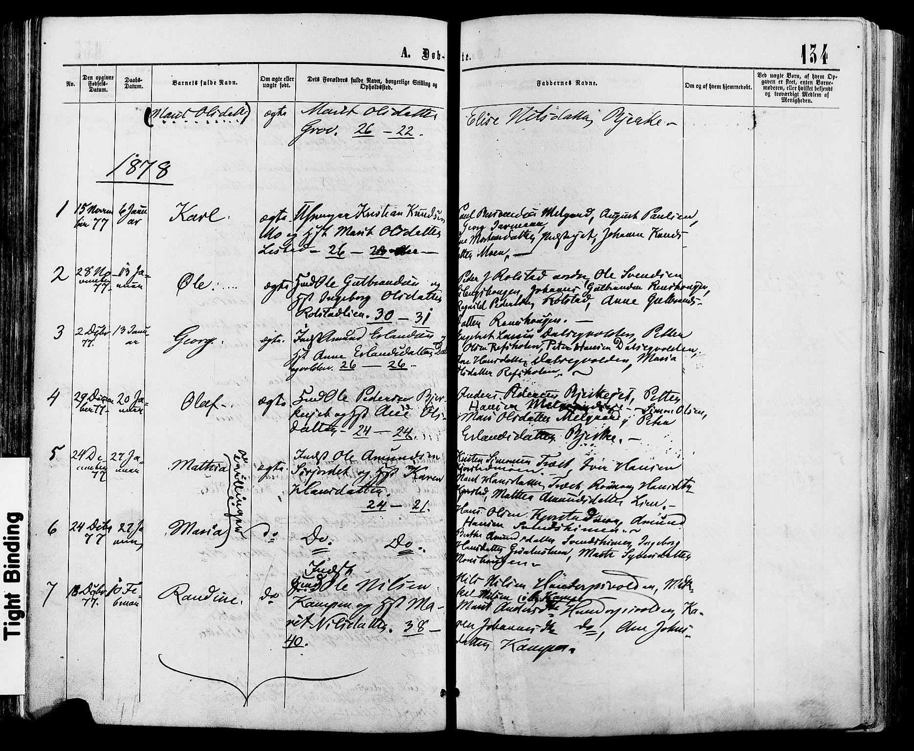SAH, Sør-Fron prestekontor, H/Ha/Haa/L0002: Ministerialbok nr. 2, 1864-1880, s. 134