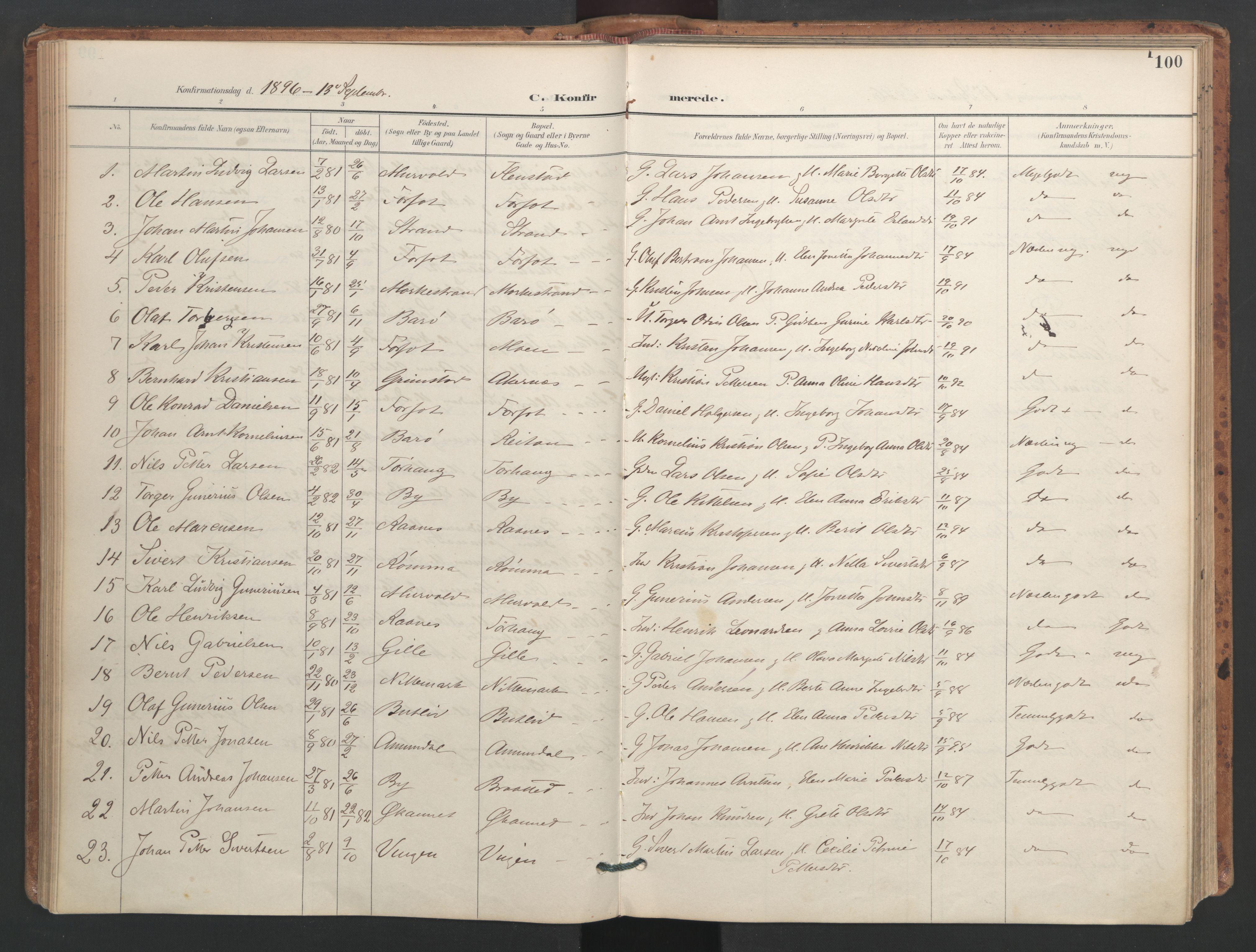 SAT, Ministerialprotokoller, klokkerbøker og fødselsregistre - Sør-Trøndelag, 655/L0681: Ministerialbok nr. 655A10, 1895-1907, s. 100
