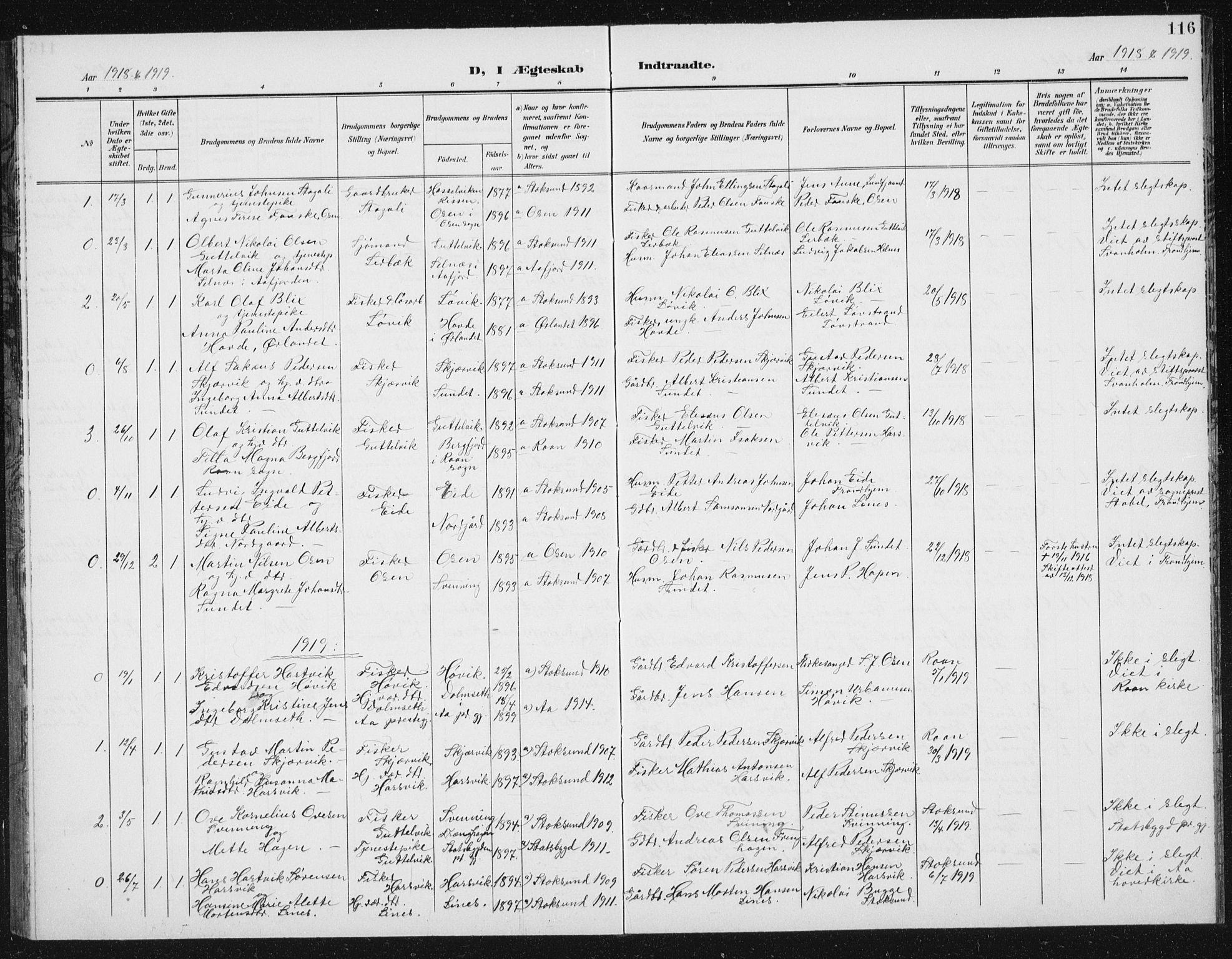 SAT, Ministerialprotokoller, klokkerbøker og fødselsregistre - Sør-Trøndelag, 656/L0699: Klokkerbok nr. 656C05, 1905-1920, s. 116