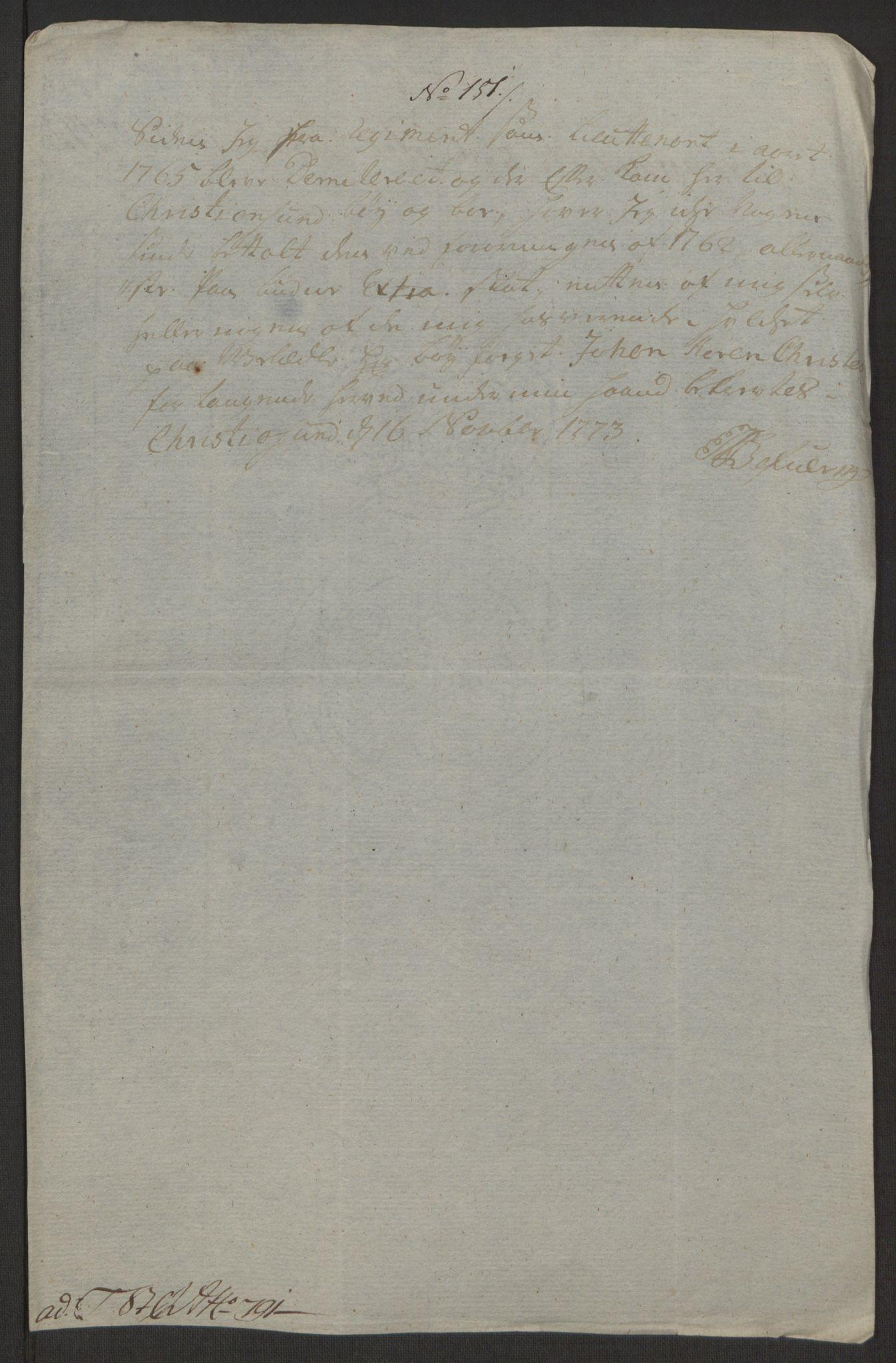 RA, Rentekammeret inntil 1814, Reviderte regnskaper, Byregnskaper, R/Rr/L0495: [R1] Kontribusjonsregnskap, 1762-1772, s. 277