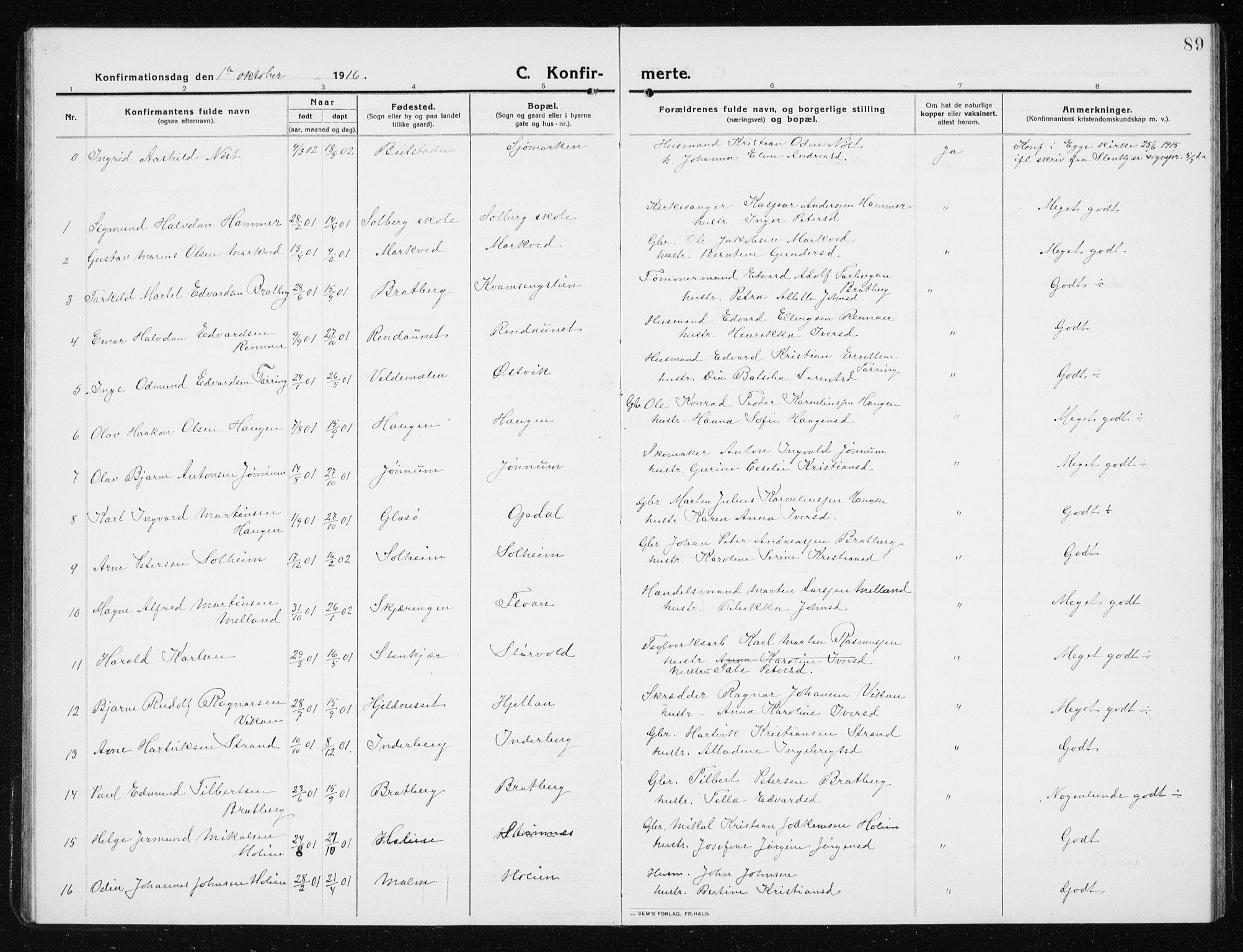 SAT, Ministerialprotokoller, klokkerbøker og fødselsregistre - Nord-Trøndelag, 741/L0402: Klokkerbok nr. 741C03, 1911-1926, s. 89