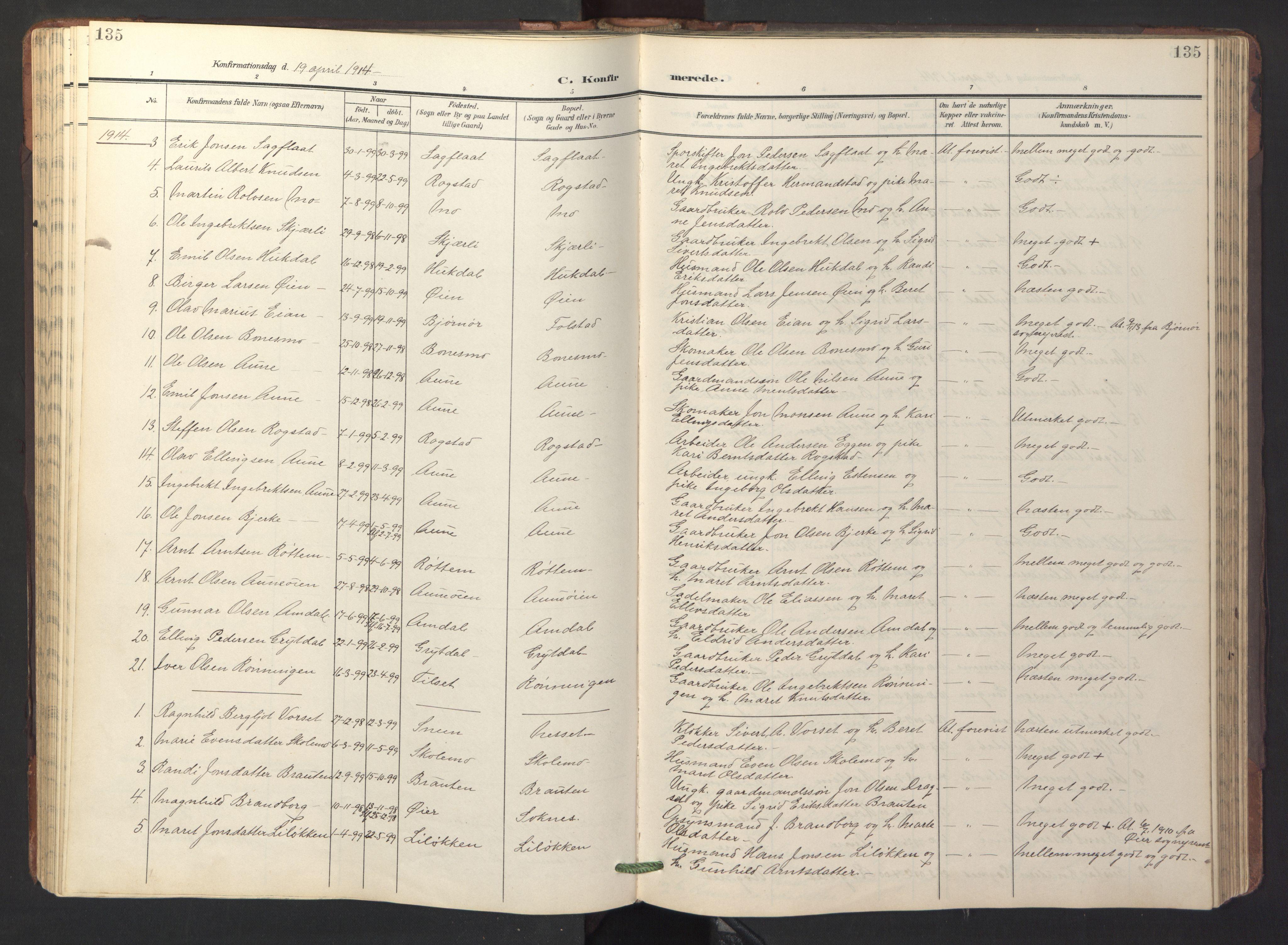 SAT, Ministerialprotokoller, klokkerbøker og fødselsregistre - Sør-Trøndelag, 687/L1019: Klokkerbok nr. 687C03, 1904-1931, s. 135