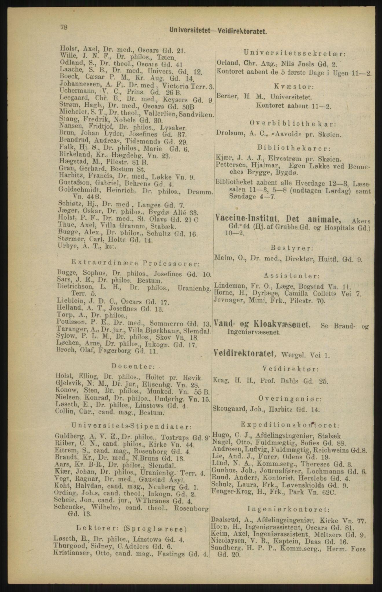 RA, Kristiania adressebok (publikasjon)*, 1904, s. 78