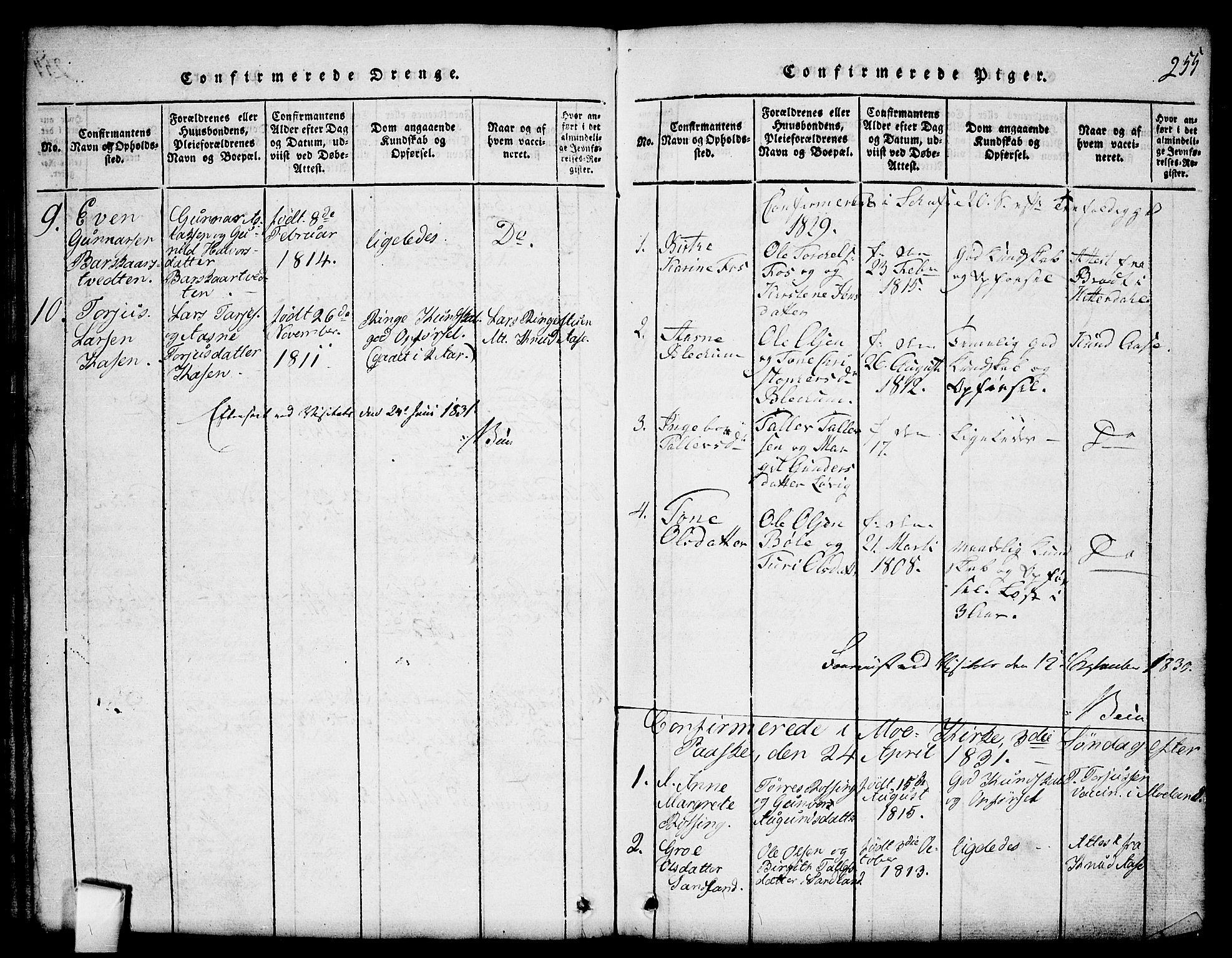 SAKO, Mo kirkebøker, G/Gb/L0001: Klokkerbok nr. II 1, 1814-1843, s. 255