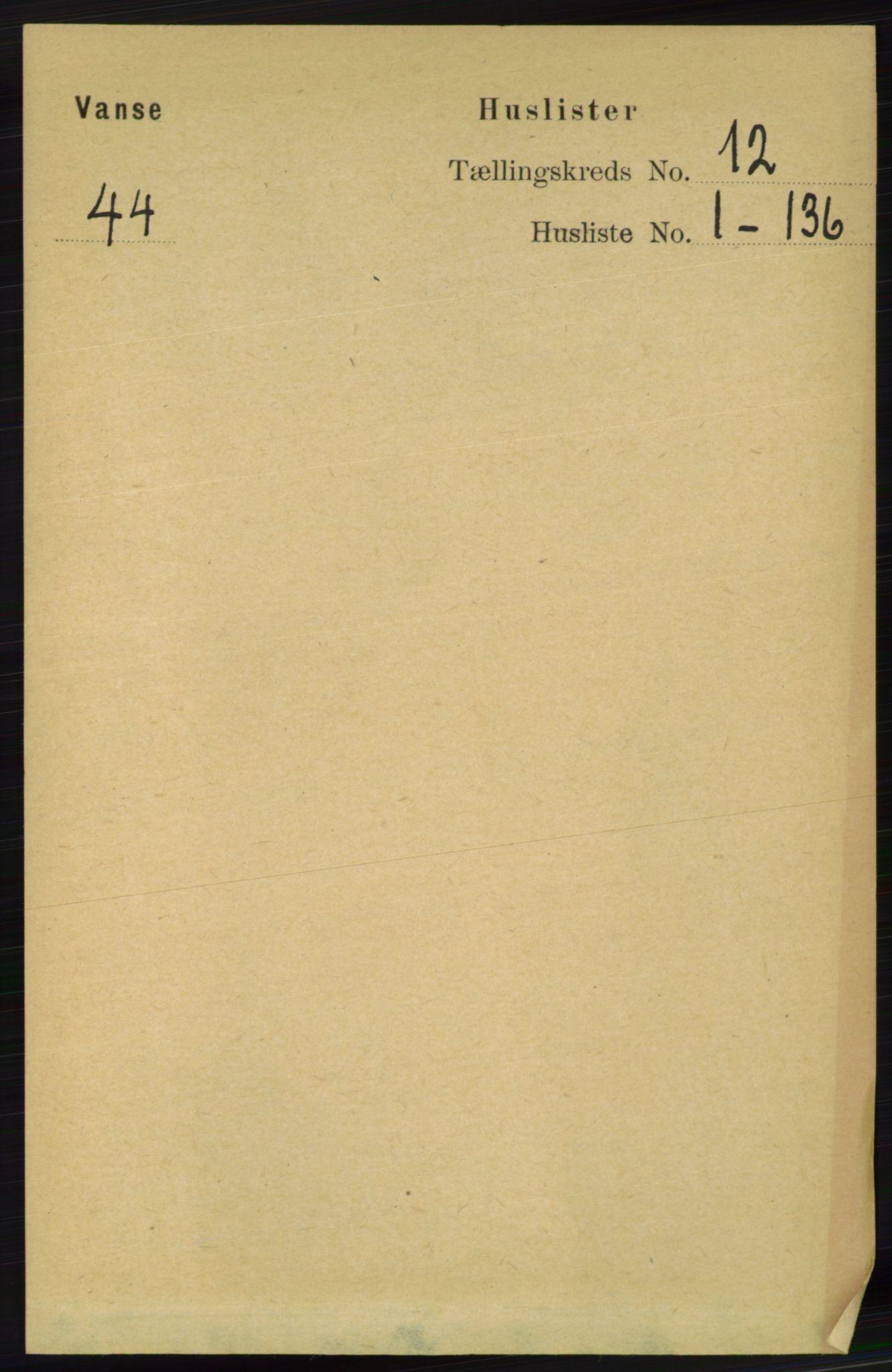 RA, Folketelling 1891 for 1041 Vanse herred, 1891, s. 6667