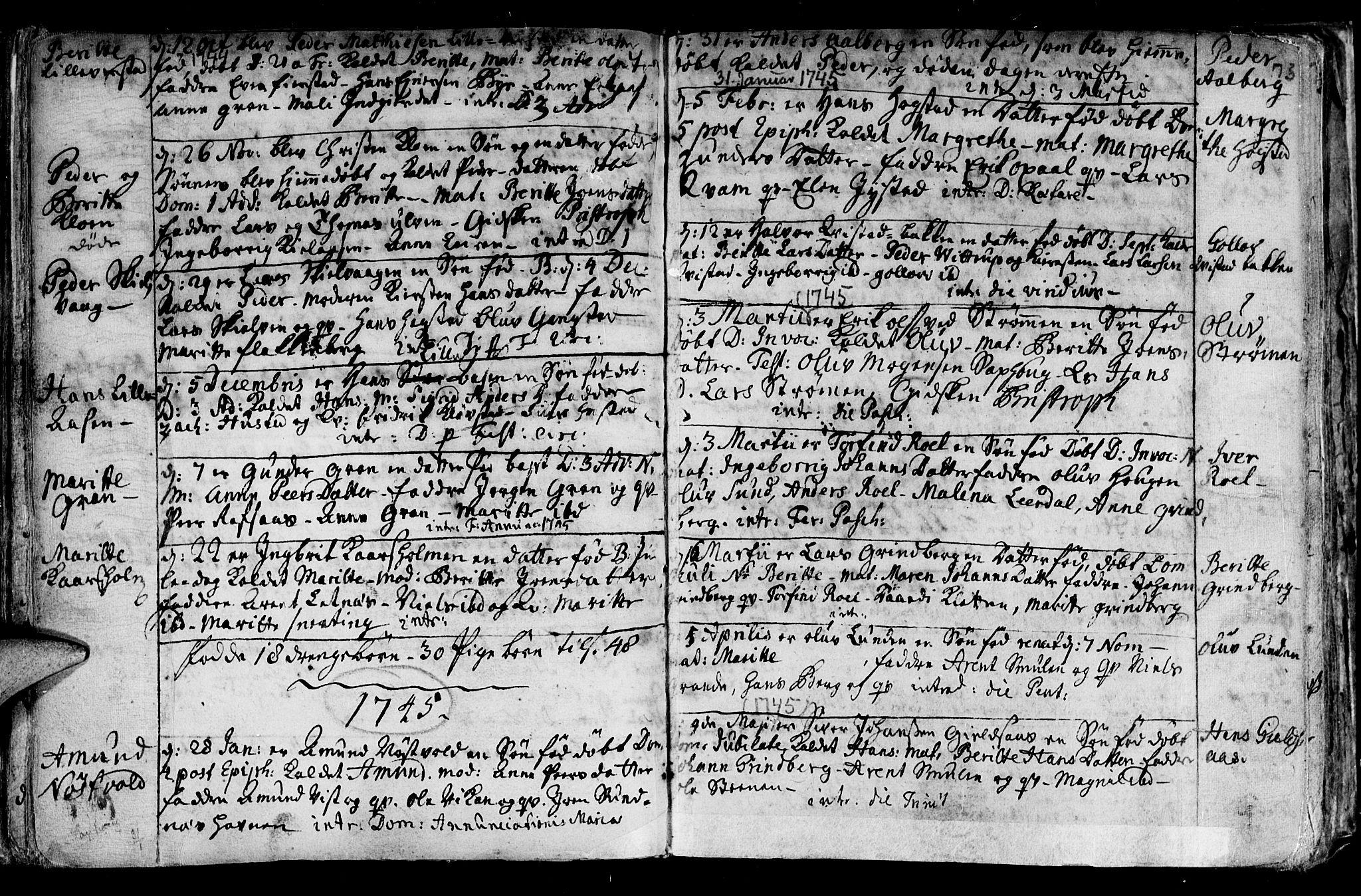 SAT, Ministerialprotokoller, klokkerbøker og fødselsregistre - Nord-Trøndelag, 730/L0272: Ministerialbok nr. 730A01, 1733-1764, s. 73
