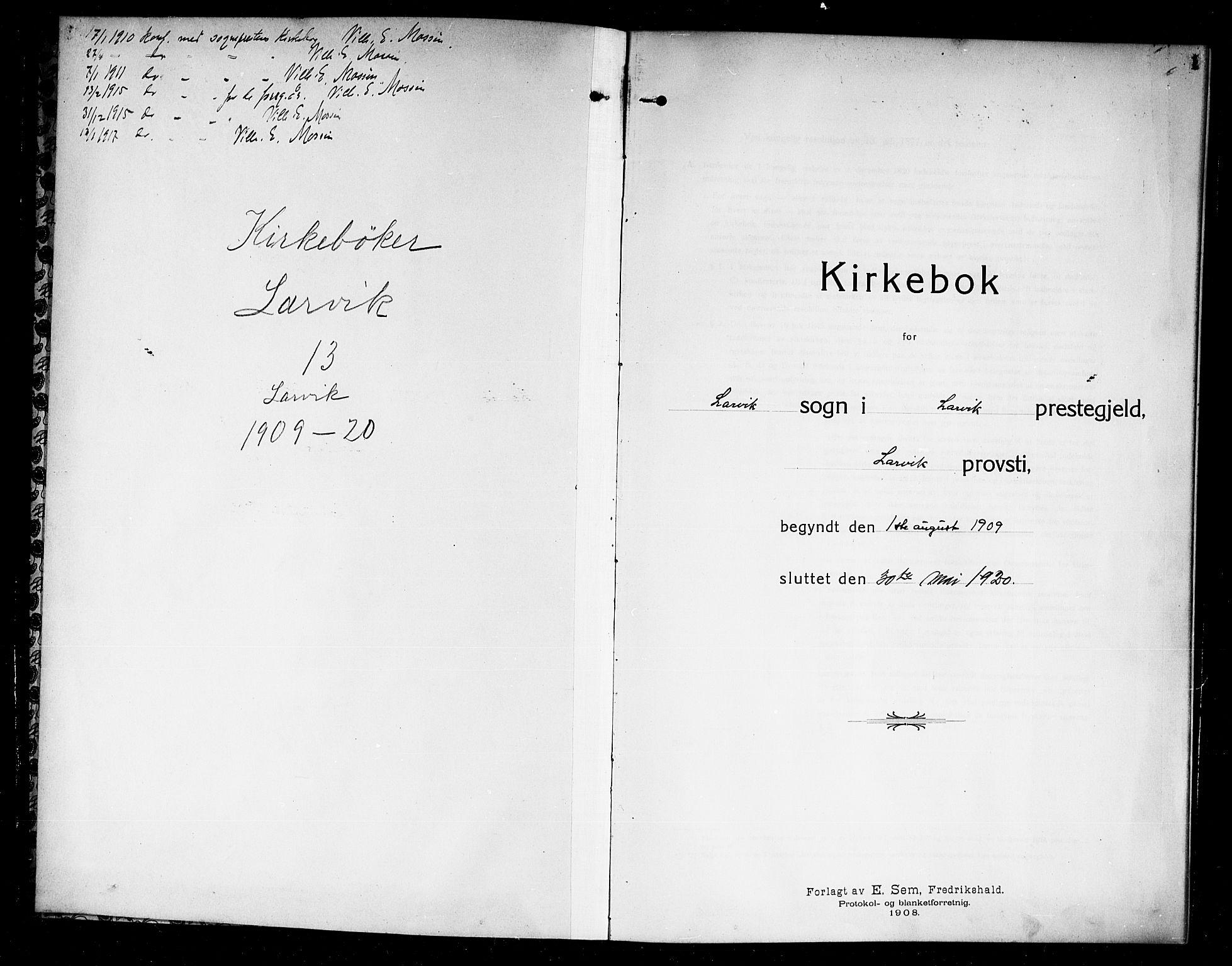 SAKO, Larvik kirkebøker, G/Ga/L0008: Klokkerbok nr. I 8, 1909-1920, s. 1