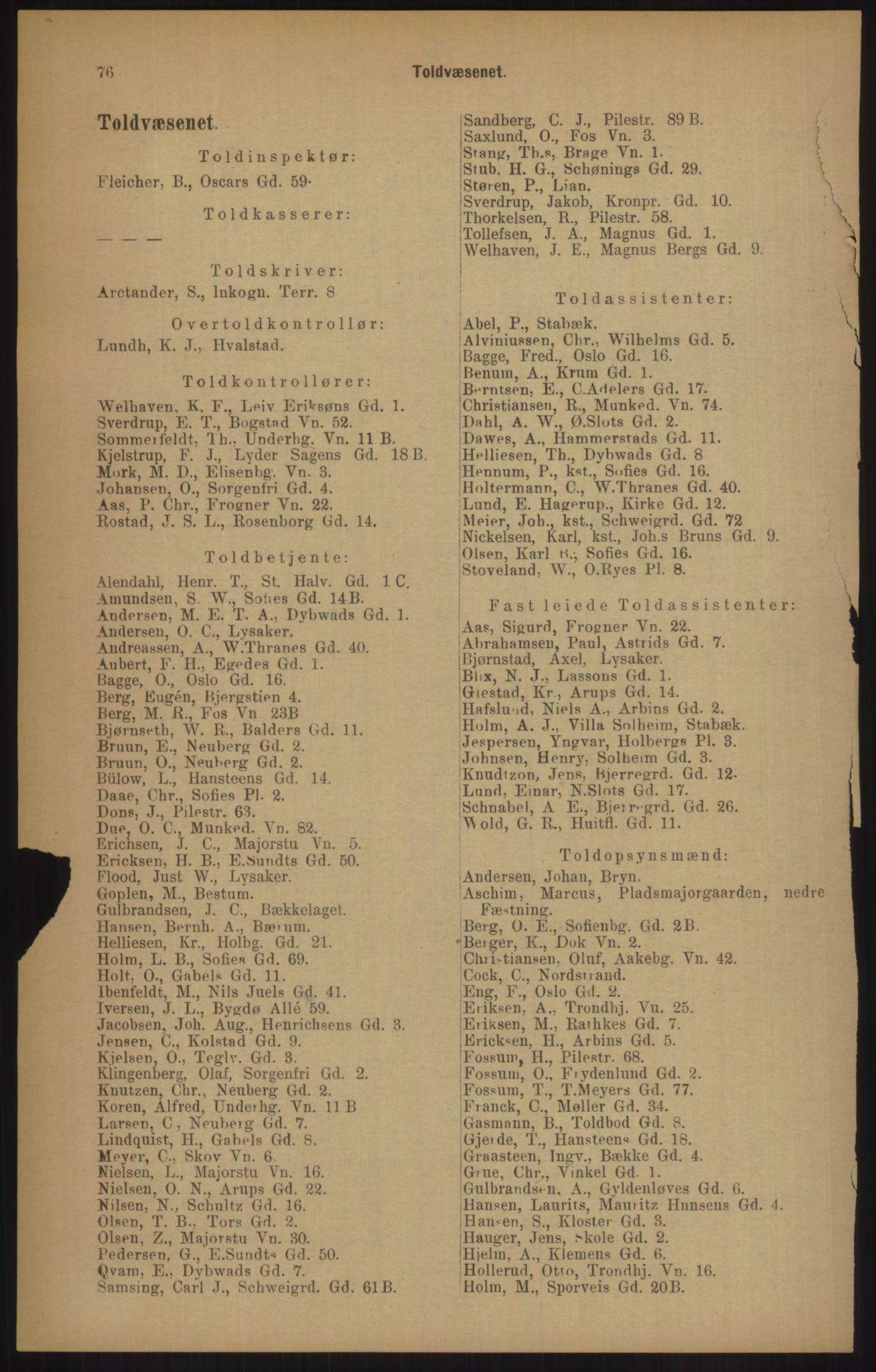 RA, Kristiania adressebok (publikasjon)*, 1905, s. 76