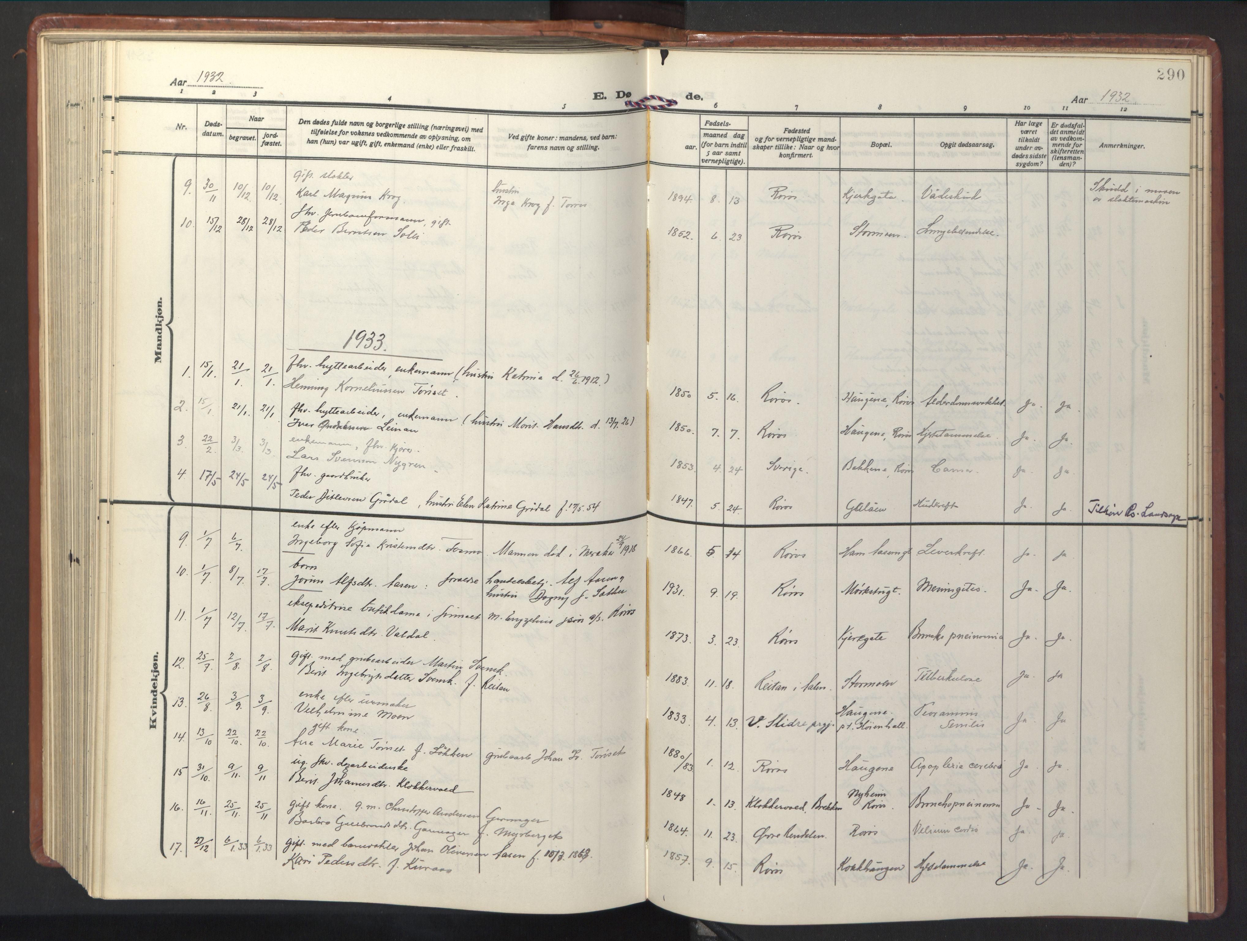 SAT, Ministerialprotokoller, klokkerbøker og fødselsregistre - Sør-Trøndelag, 681/L0943: Klokkerbok nr. 681C07, 1926-1954, s. 290