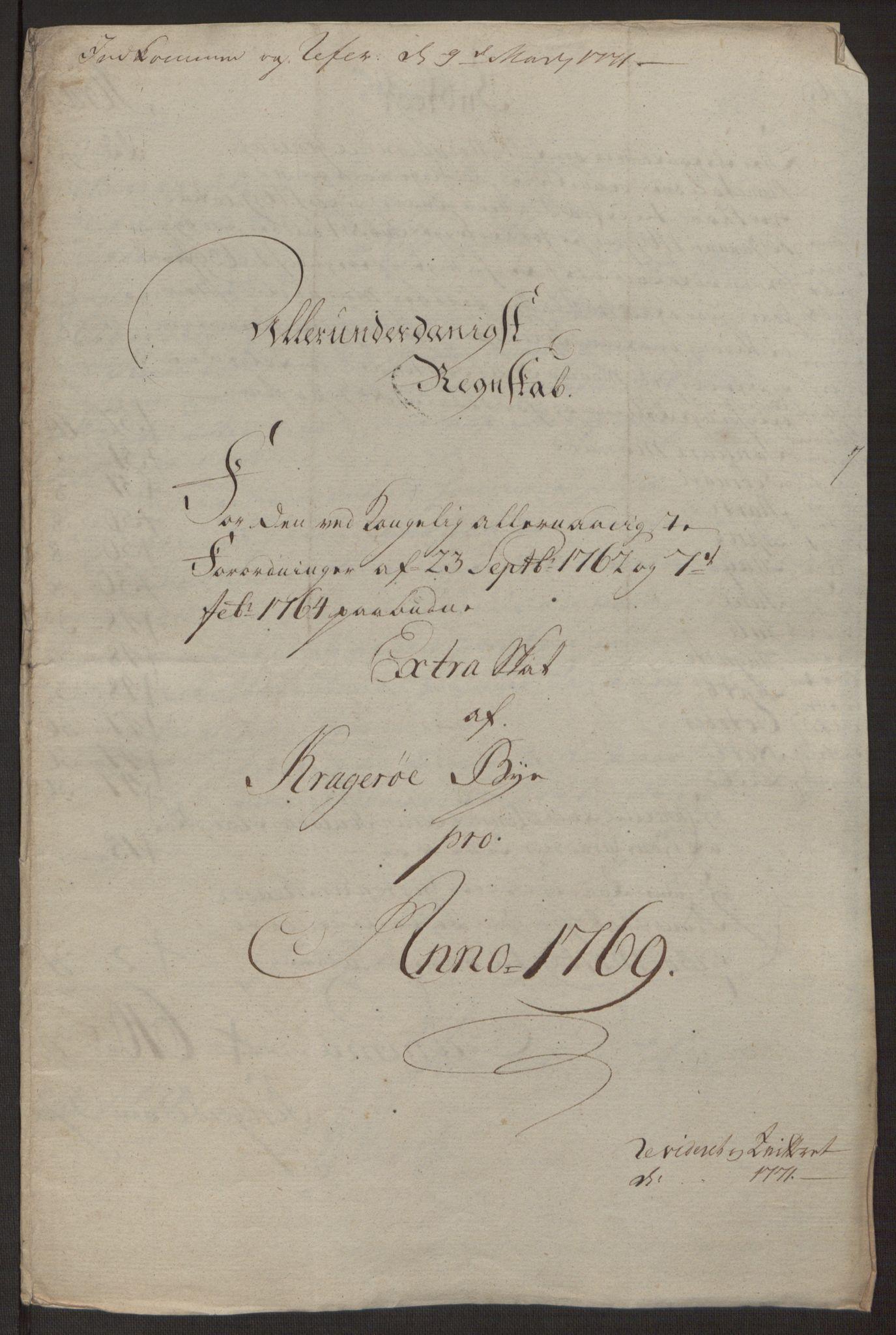 RA, Rentekammeret inntil 1814, Reviderte regnskaper, Byregnskaper, R/Rk/L0218: [K2] Kontribusjonsregnskap, 1768-1772, s. 22
