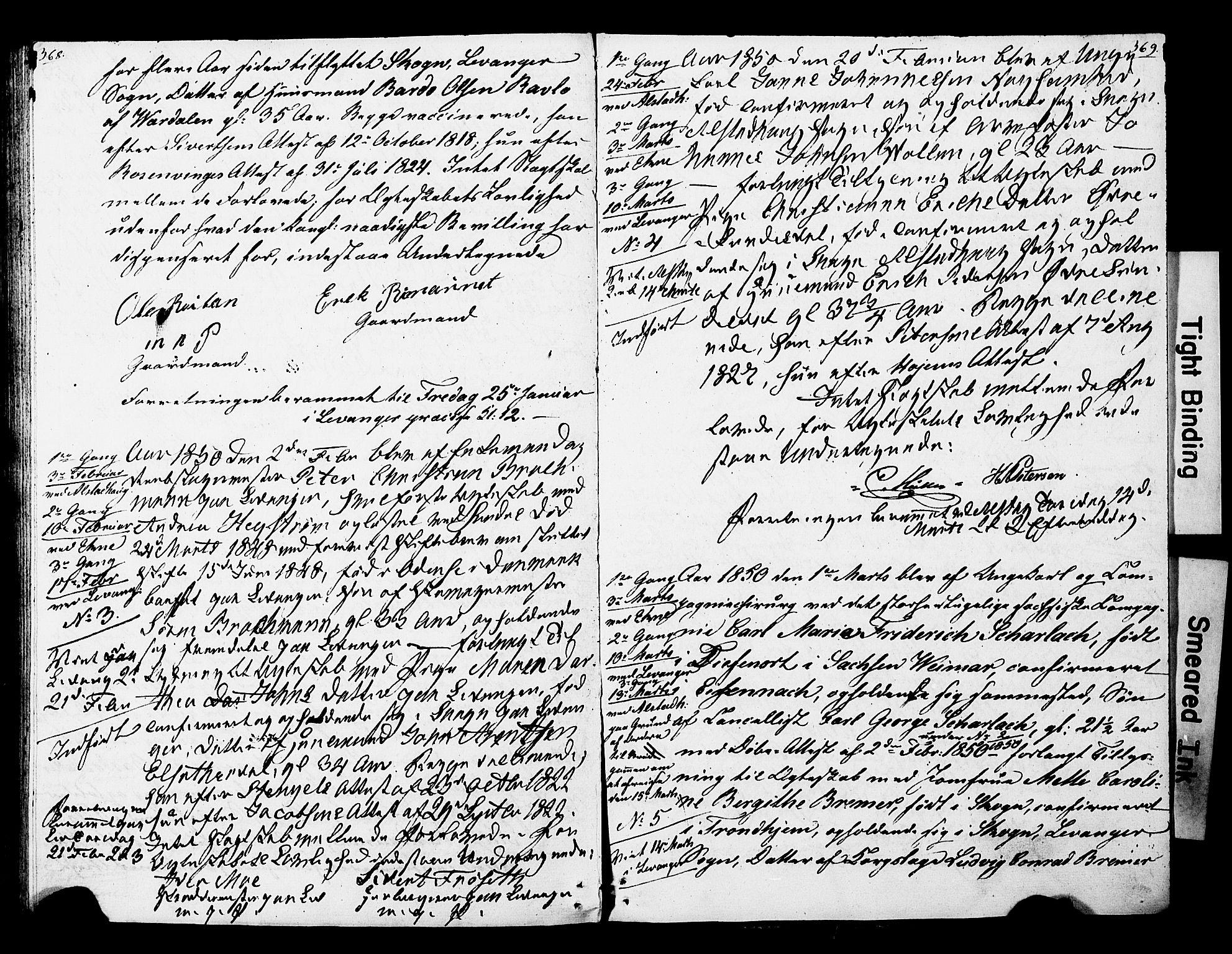 SAT, Ministerialprotokoller, klokkerbøker og fødselsregistre - Nord-Trøndelag, 717/L0160: Forlovererklæringer nr. 717A10, 1828-1850, s. 368-369