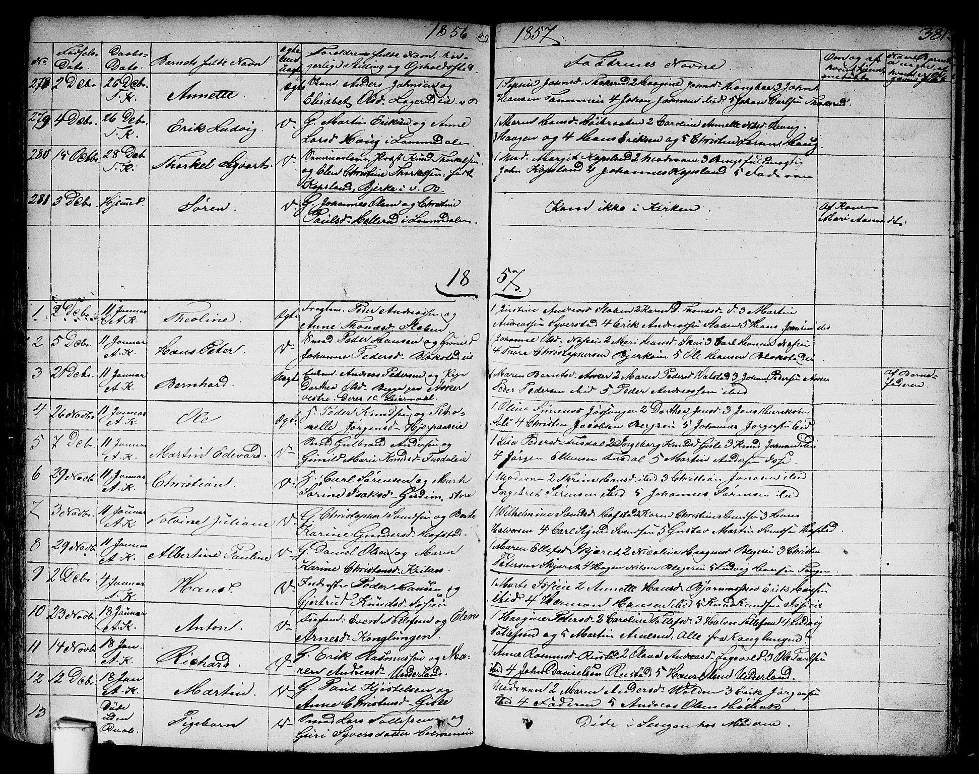 SAO, Asker prestekontor Kirkebøker, F/Fa/L0007: Ministerialbok nr. I 7, 1825-1864, s. 381