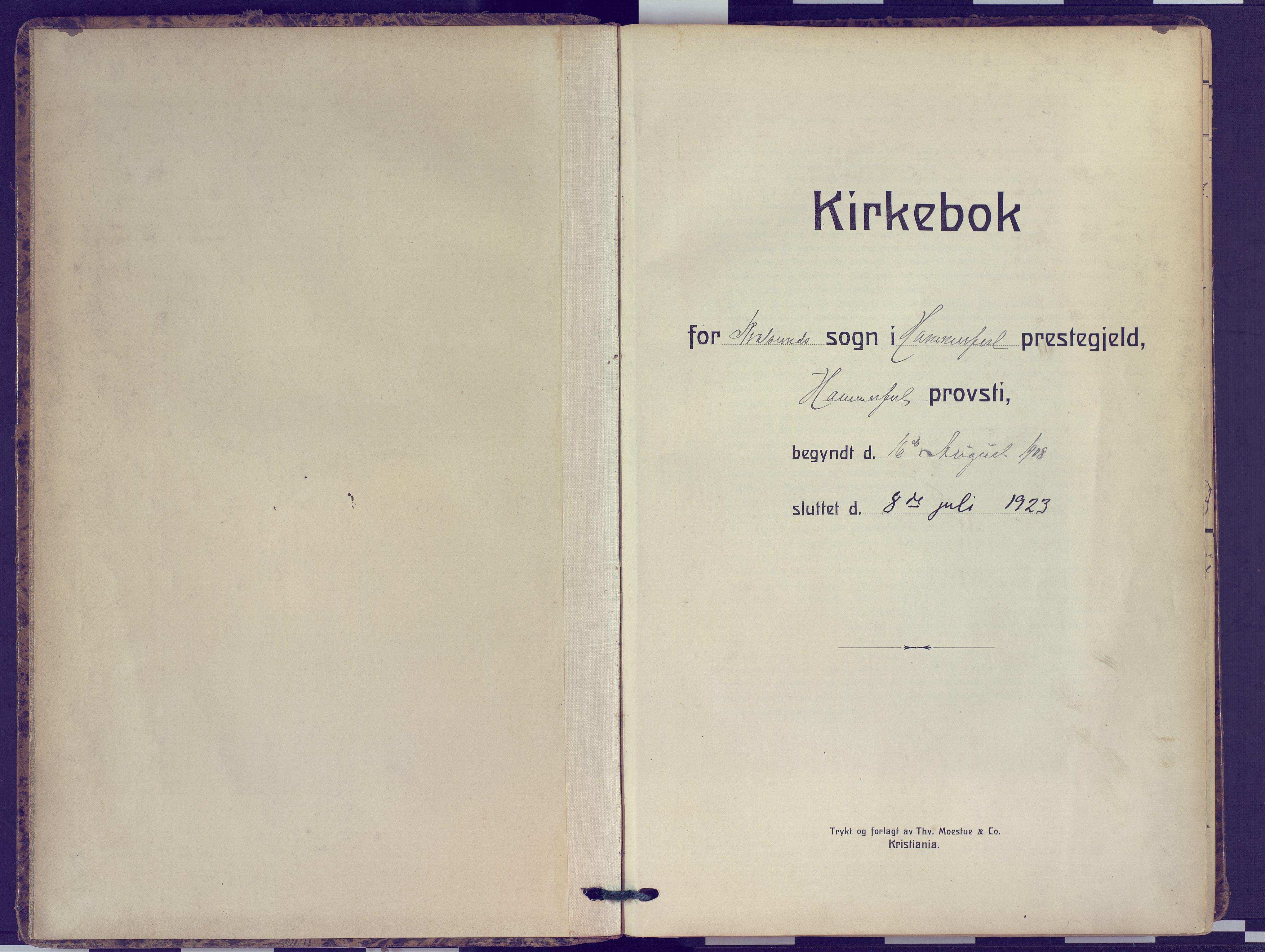 SATØ, Hammerfest sokneprestembete, Ministerialbok nr. 16, 1908-1923
