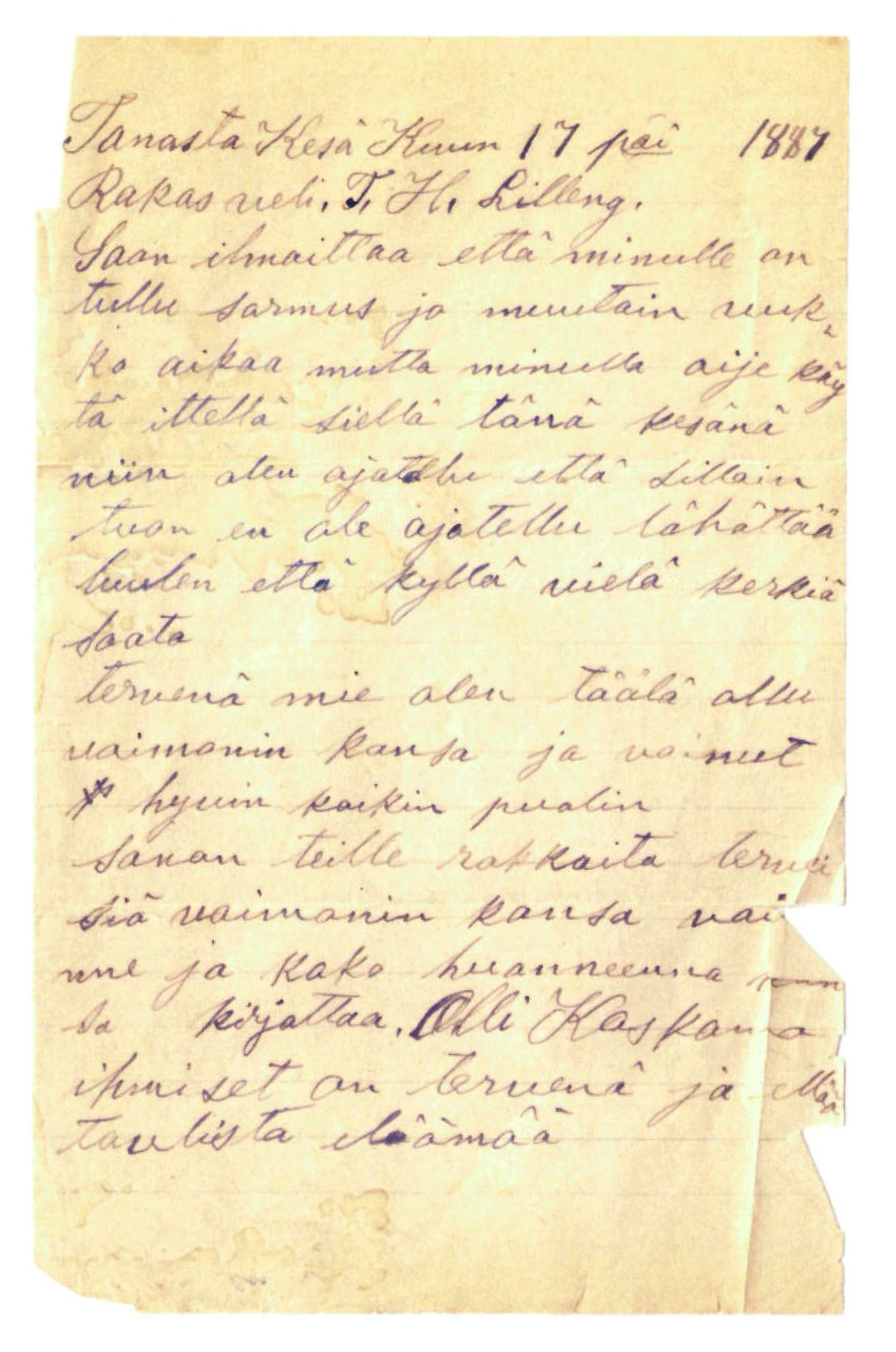 FMFB, Elise Balos brevsamling, F/Fa/L0005: Brev fra O.Koskamo til Th. Lilleng , 1887