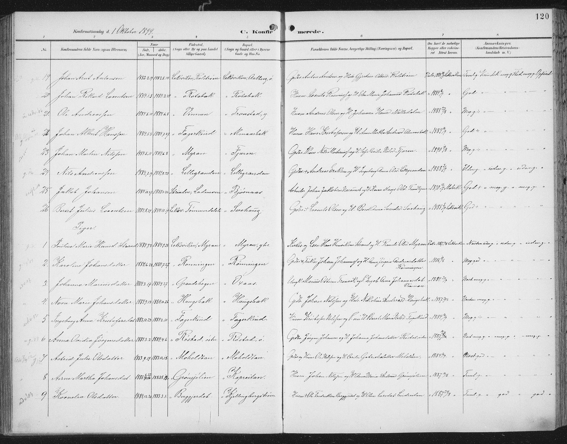 SAT, Ministerialprotokoller, klokkerbøker og fødselsregistre - Nord-Trøndelag, 701/L0011: Ministerialbok nr. 701A11, 1899-1915, s. 120