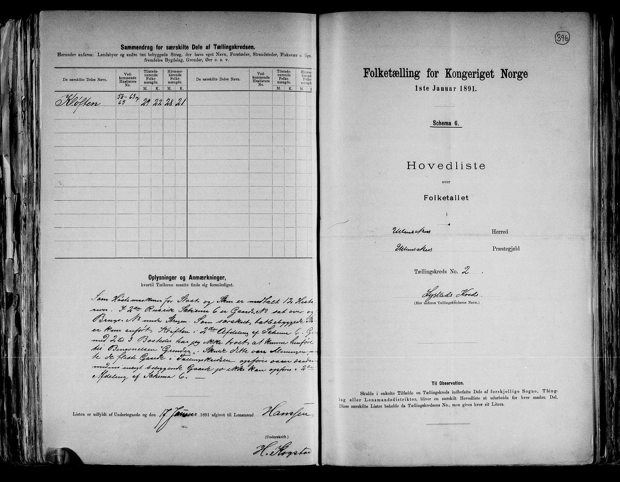 RA, Folketelling 1891 for 0235 Ullensaker herred, 1891, s. 6