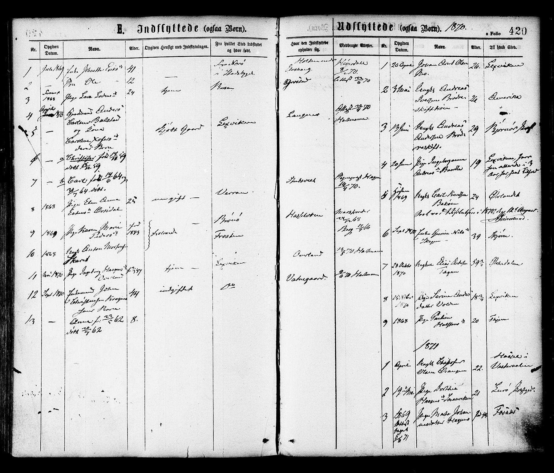 SAT, Ministerialprotokoller, klokkerbøker og fødselsregistre - Sør-Trøndelag, 646/L0613: Ministerialbok nr. 646A11, 1870-1884, s. 420