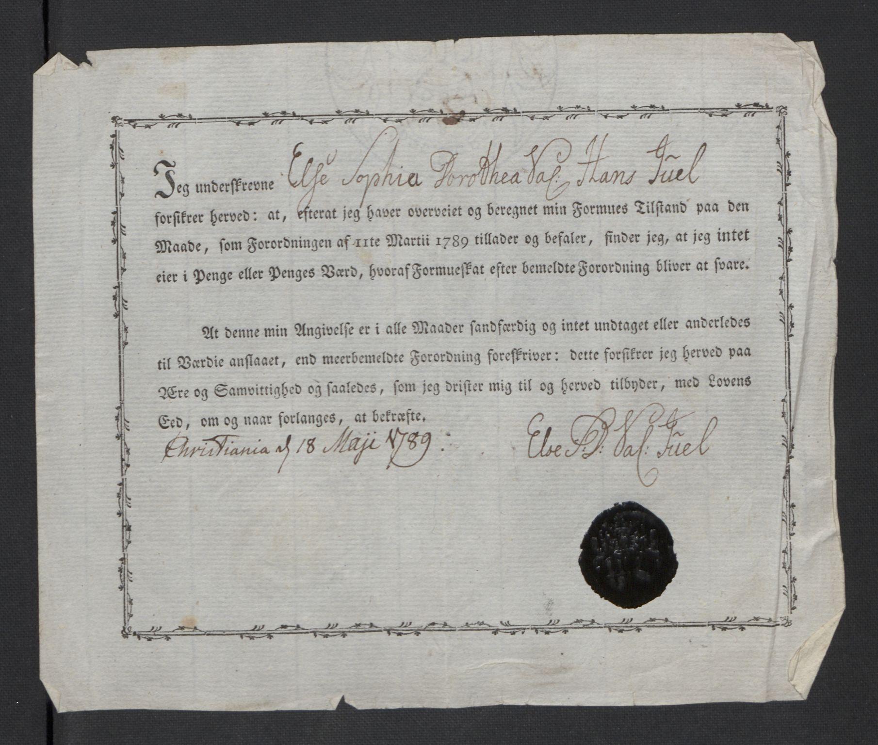 RA, Rentekammeret inntil 1814, Reviderte regnskaper, Mindre regnskaper, Rf/Rfe/L0006: Christiania, 1789, s. 135