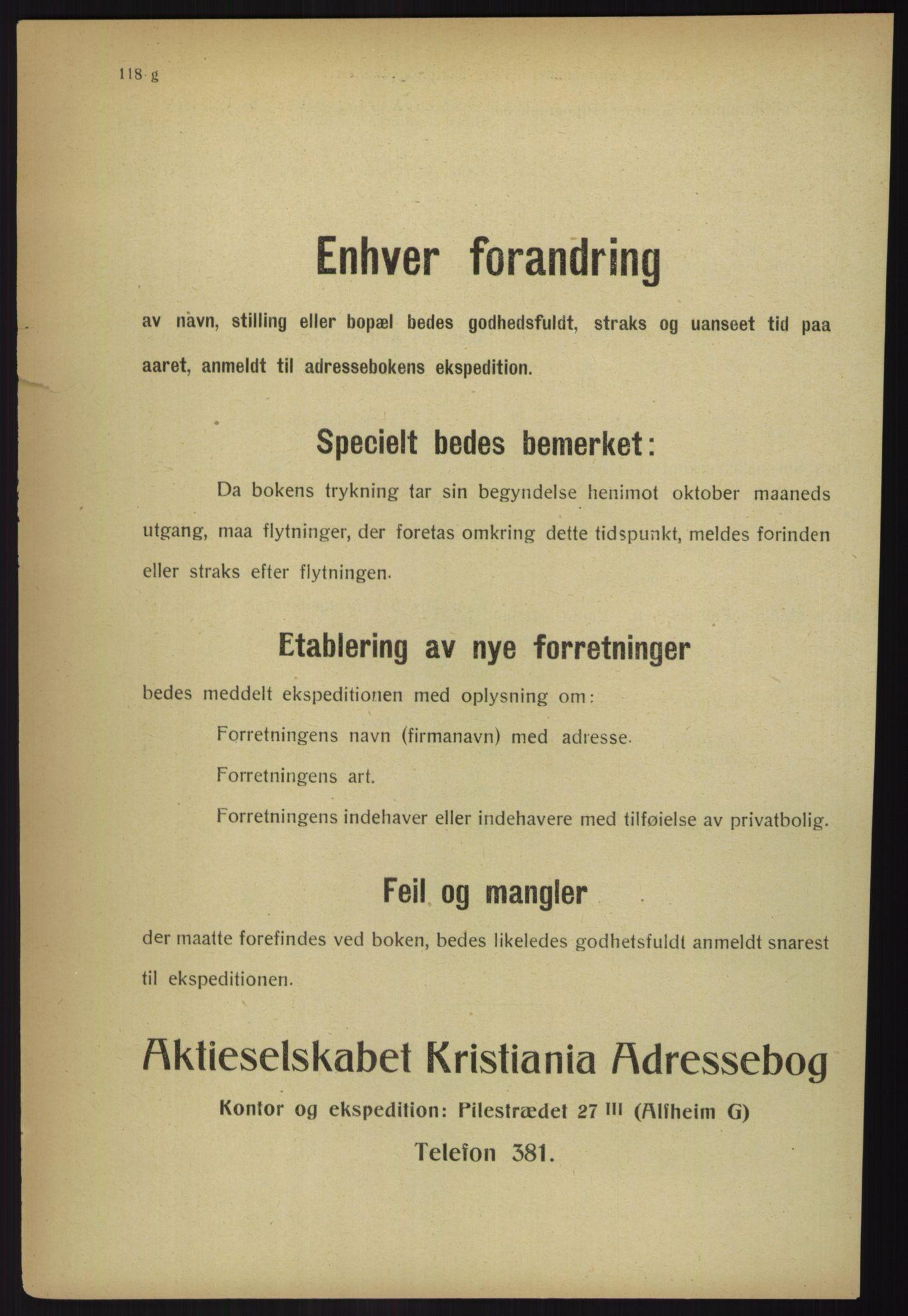 RA, Kristiania adressebok (publikasjon)*, 1918, s. 118g