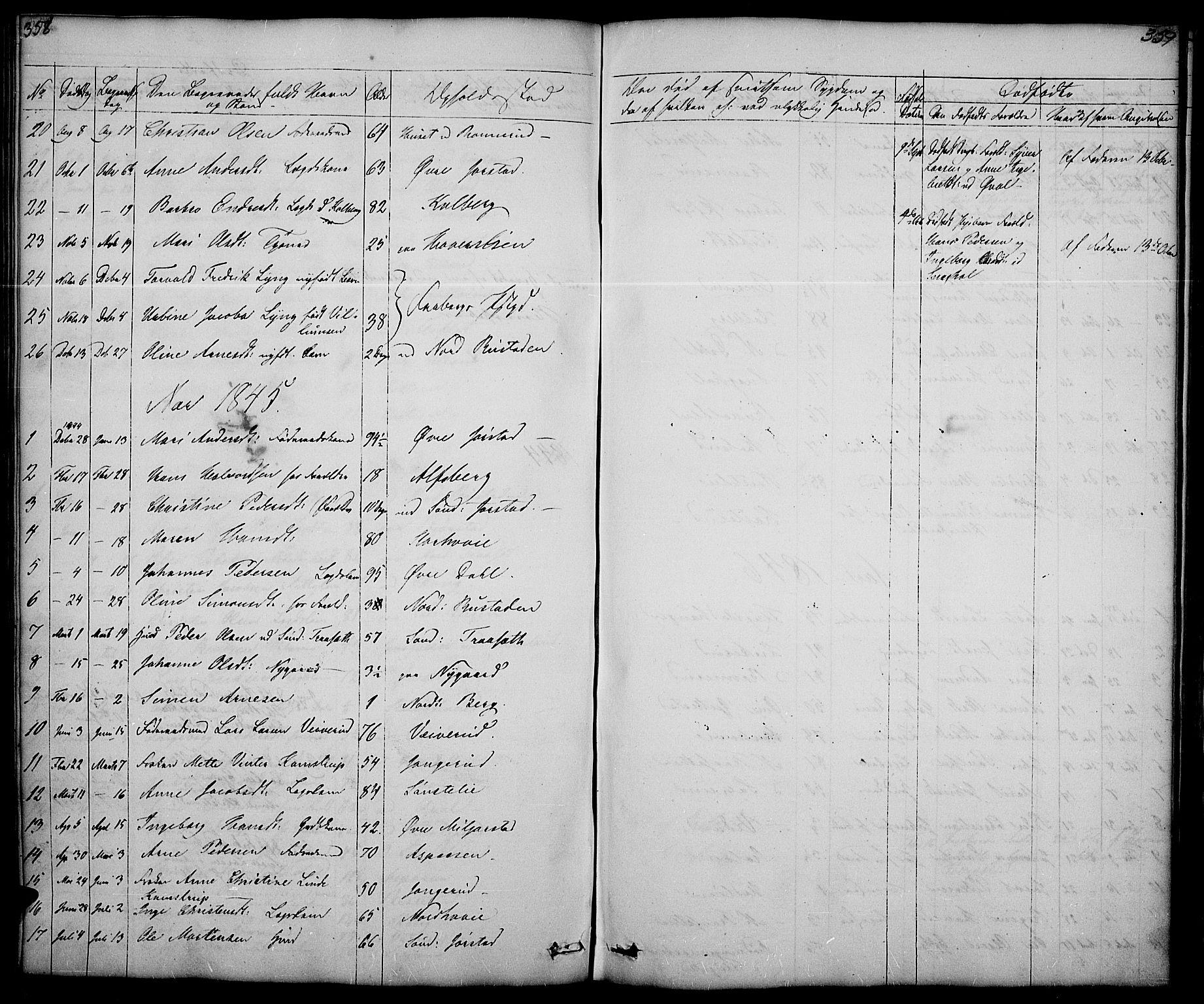 SAH, Fåberg prestekontor, Klokkerbok nr. 5, 1837-1864, s. 358-359