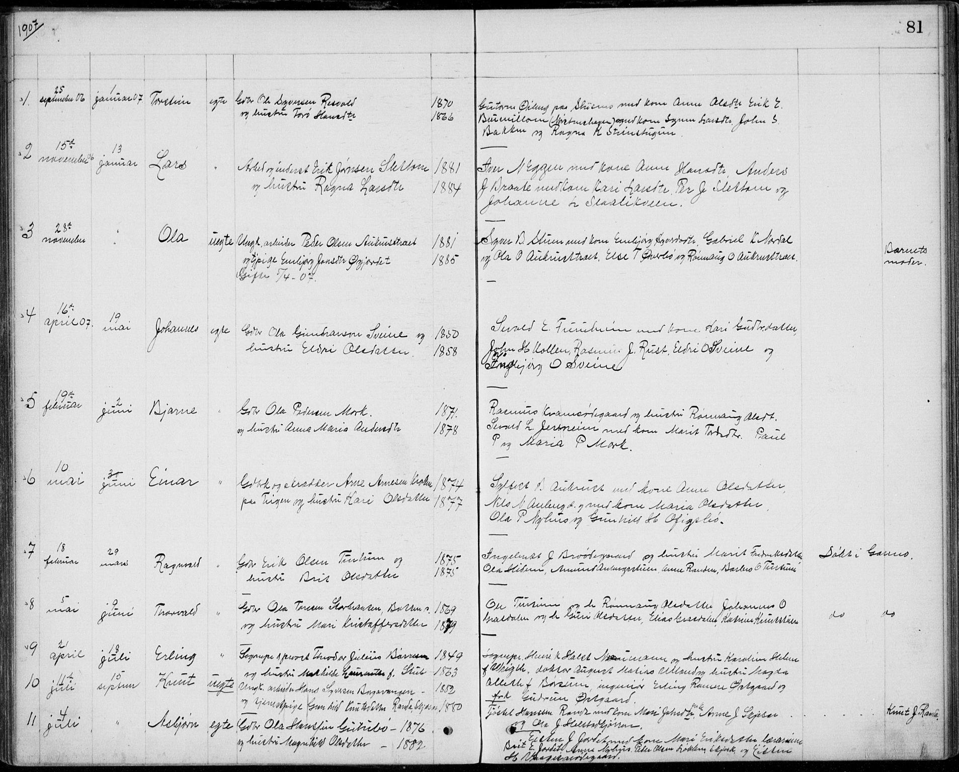 SAH, Lom prestekontor, L/L0013: Klokkerbok nr. 13, 1874-1938, s. 81