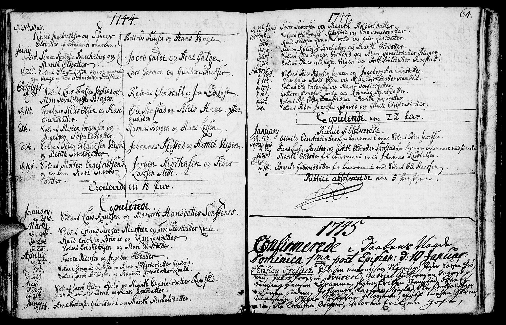 SAH, Lom prestekontor, K/L0001: Ministerialbok nr. 1, 1733-1748, s. 64