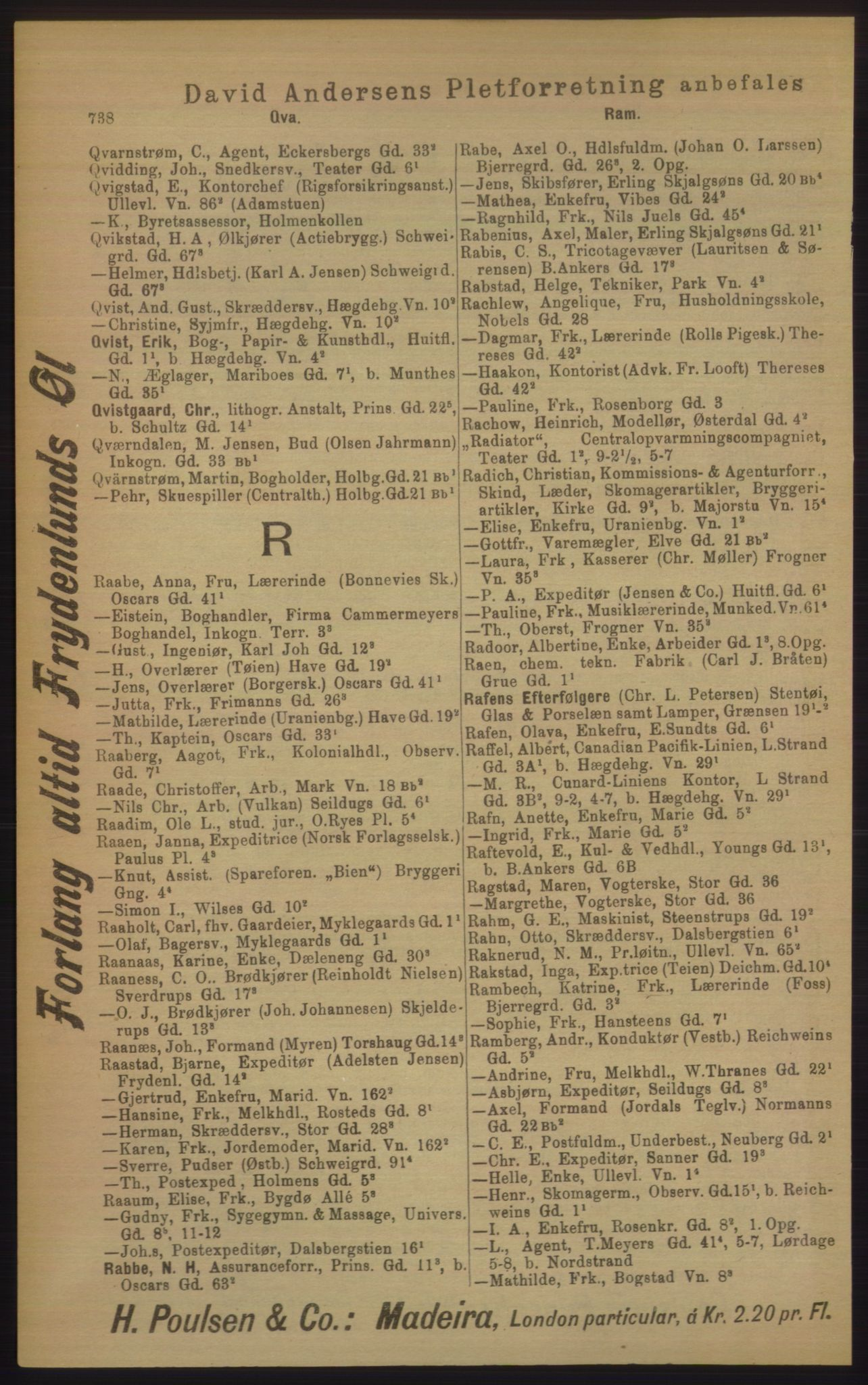 RA, Kristiania adressebok (publikasjon)*, 1906, s. 738