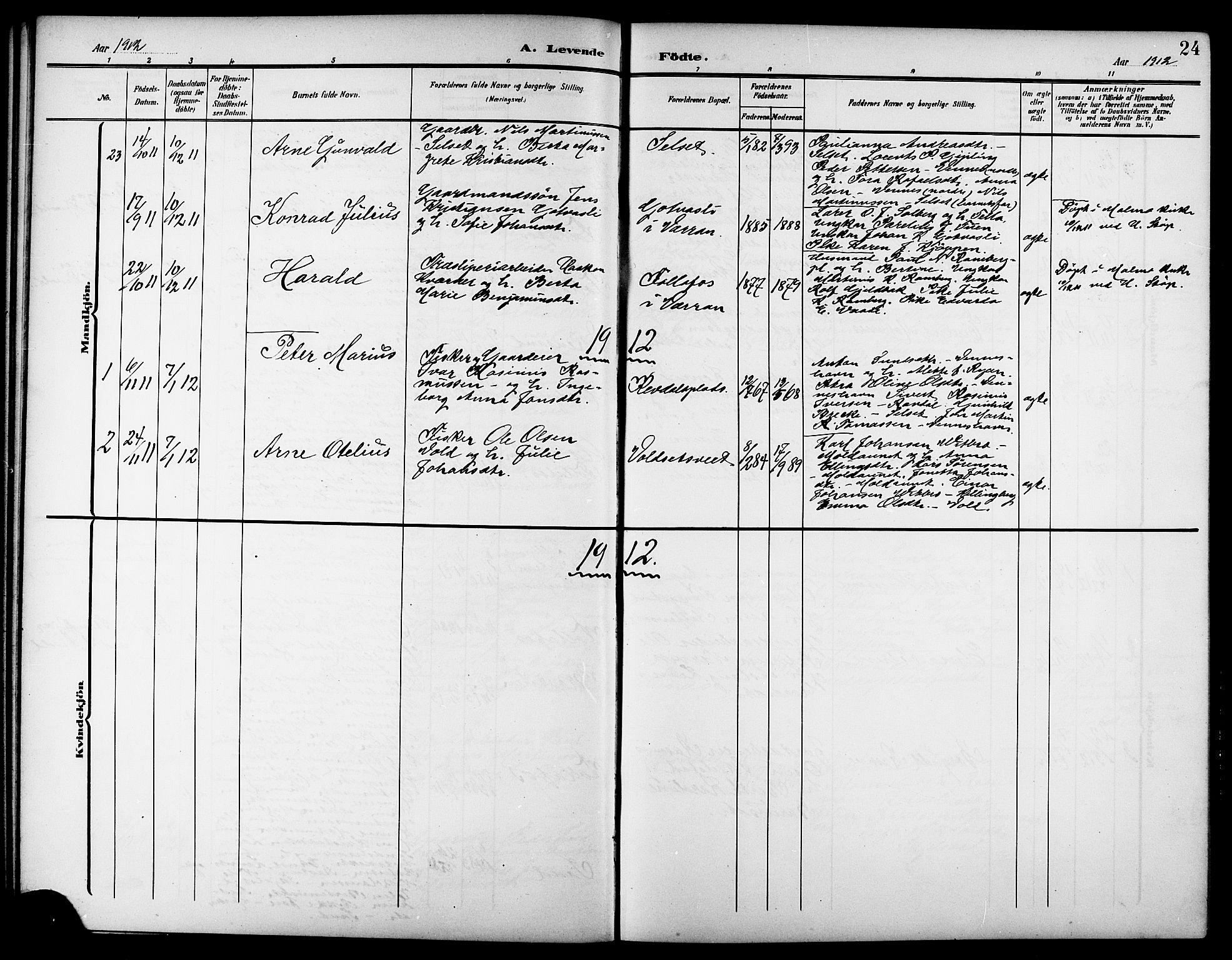 SAT, Ministerialprotokoller, klokkerbøker og fødselsregistre - Nord-Trøndelag, 744/L0424: Klokkerbok nr. 744C03, 1906-1923, s. 24