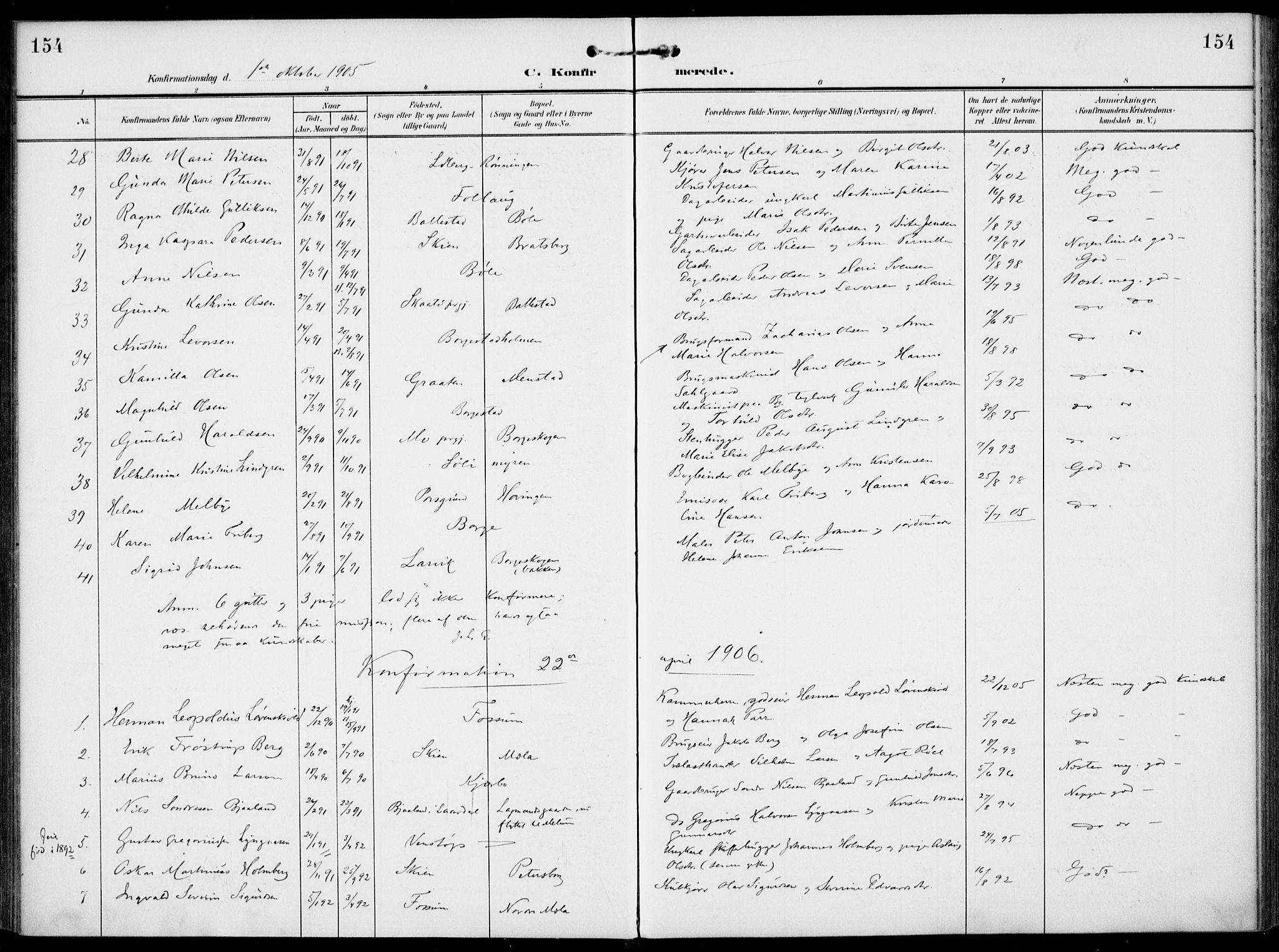 SAKO, Gjerpen kirkebøker, F/Fa/L0012: Ministerialbok nr. 12, 1905-1913, s. 154