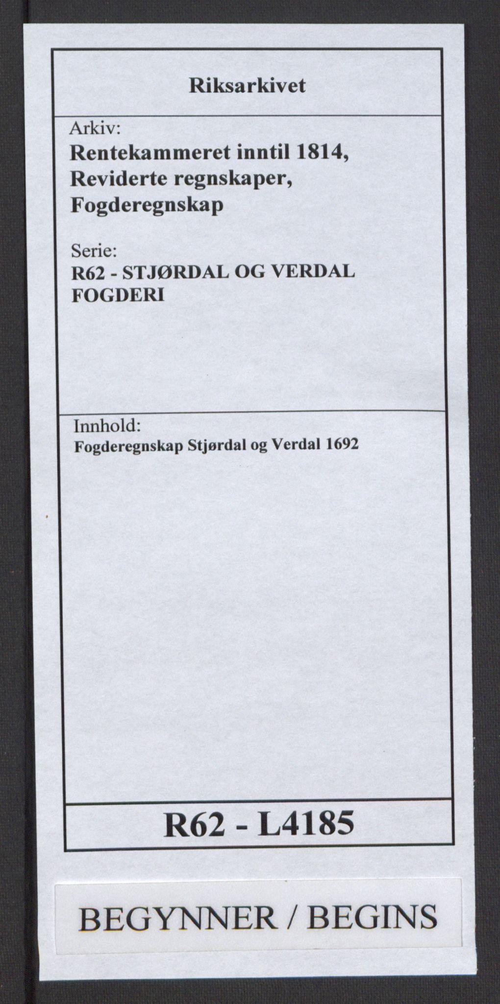 RA, Rentekammeret inntil 1814, Reviderte regnskaper, Fogderegnskap, R62/L4185: Fogderegnskap Stjørdal og Verdal, 1692, s. 1