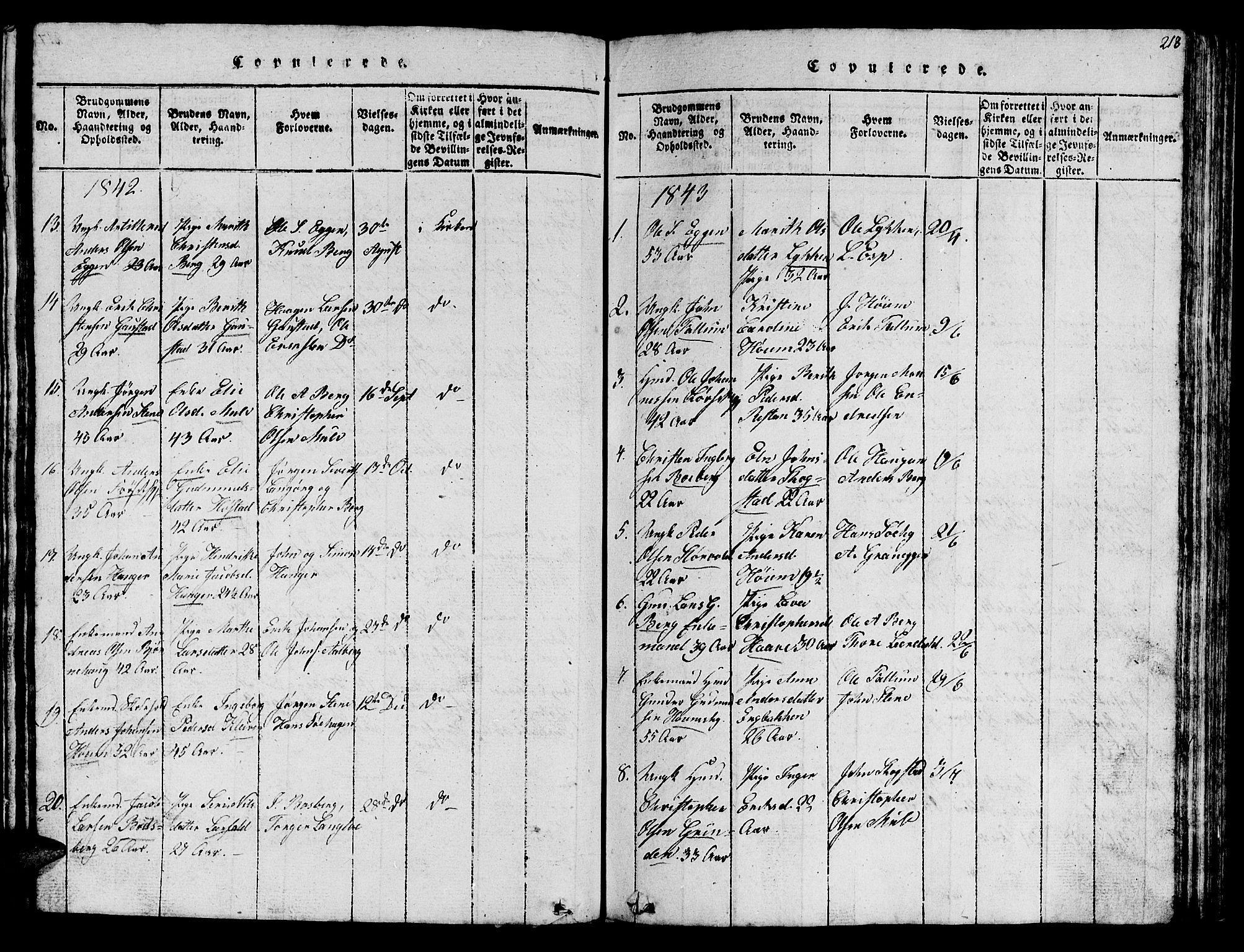 SAT, Ministerialprotokoller, klokkerbøker og fødselsregistre - Sør-Trøndelag, 612/L0385: Klokkerbok nr. 612C01, 1816-1845, s. 218