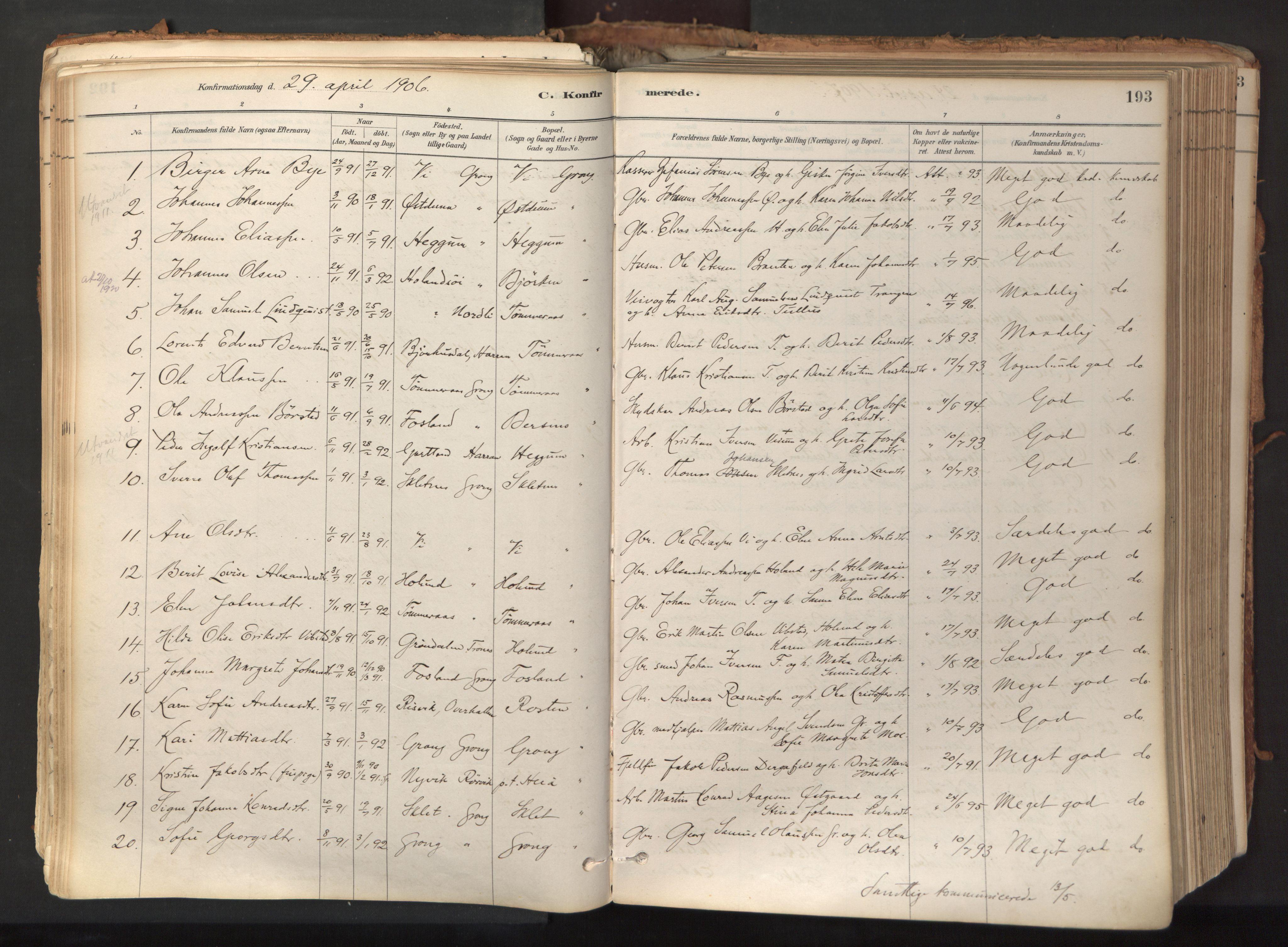SAT, Ministerialprotokoller, klokkerbøker og fødselsregistre - Nord-Trøndelag, 758/L0519: Ministerialbok nr. 758A04, 1880-1926, s. 193