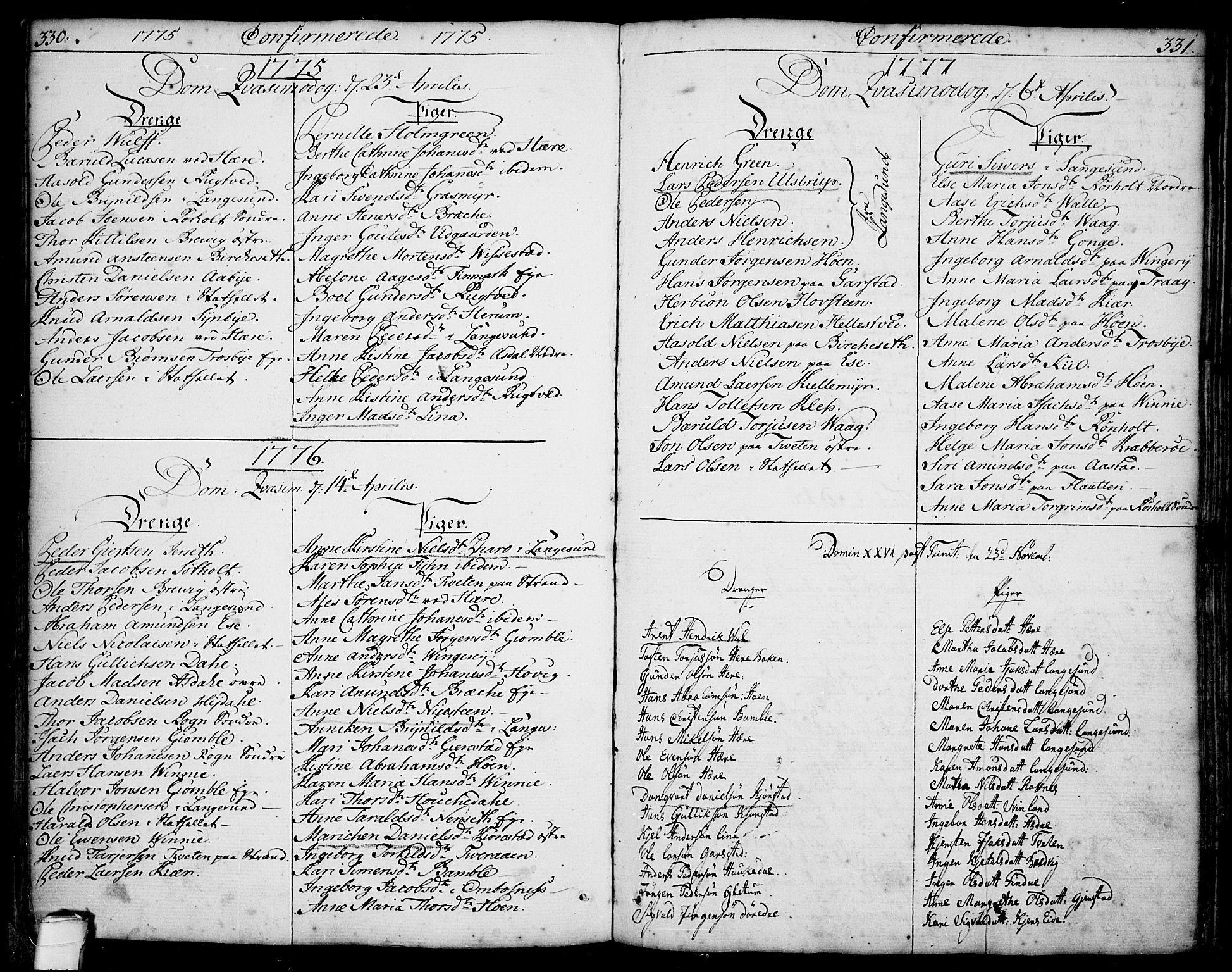 SAKO, Bamble kirkebøker, F/Fa/L0002: Ministerialbok nr. I 2, 1775-1814, s. 330-331