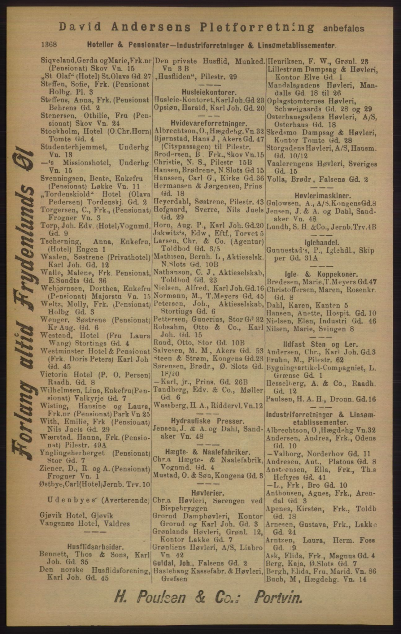 RA, Kristiania adressebok (publikasjon)*, 1905, s. 1368