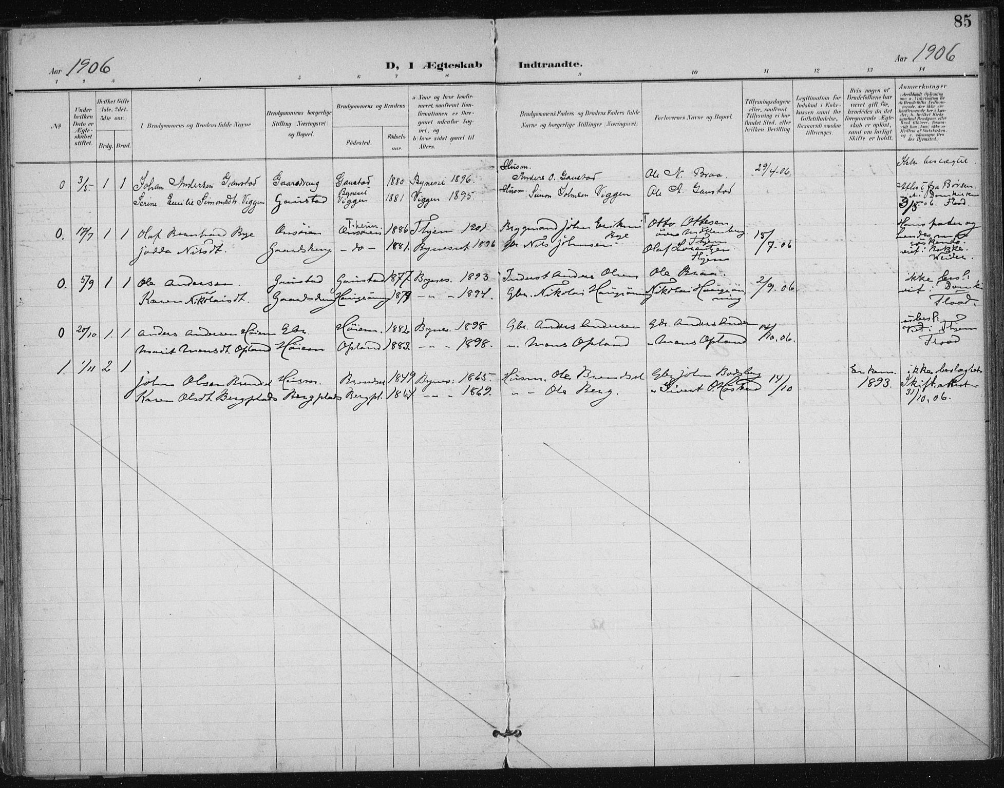 SAT, Ministerialprotokoller, klokkerbøker og fødselsregistre - Sør-Trøndelag, 612/L0380: Ministerialbok nr. 612A12, 1898-1907, s. 85